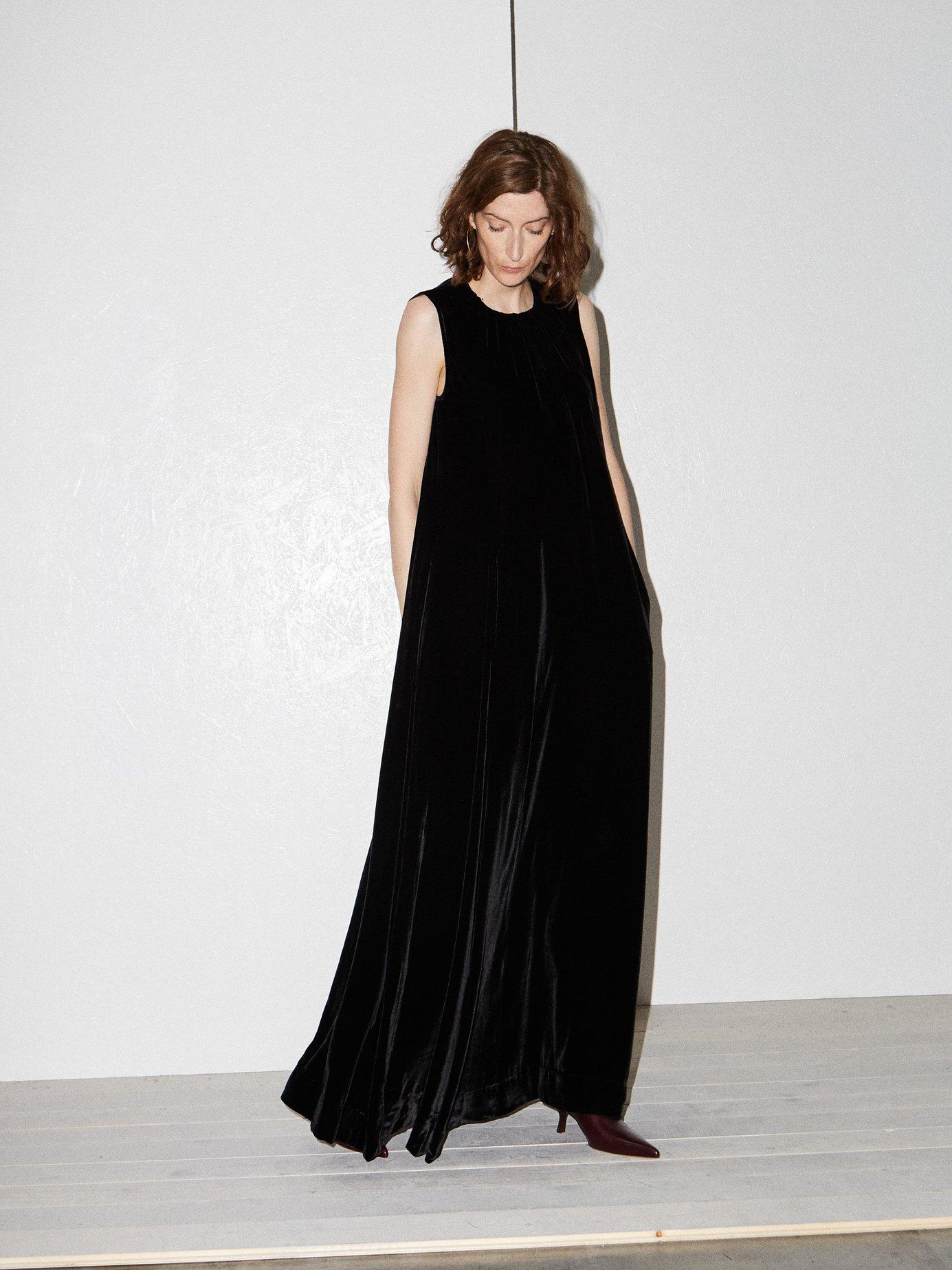 Gathered-neck velvet maxi dress by Raey