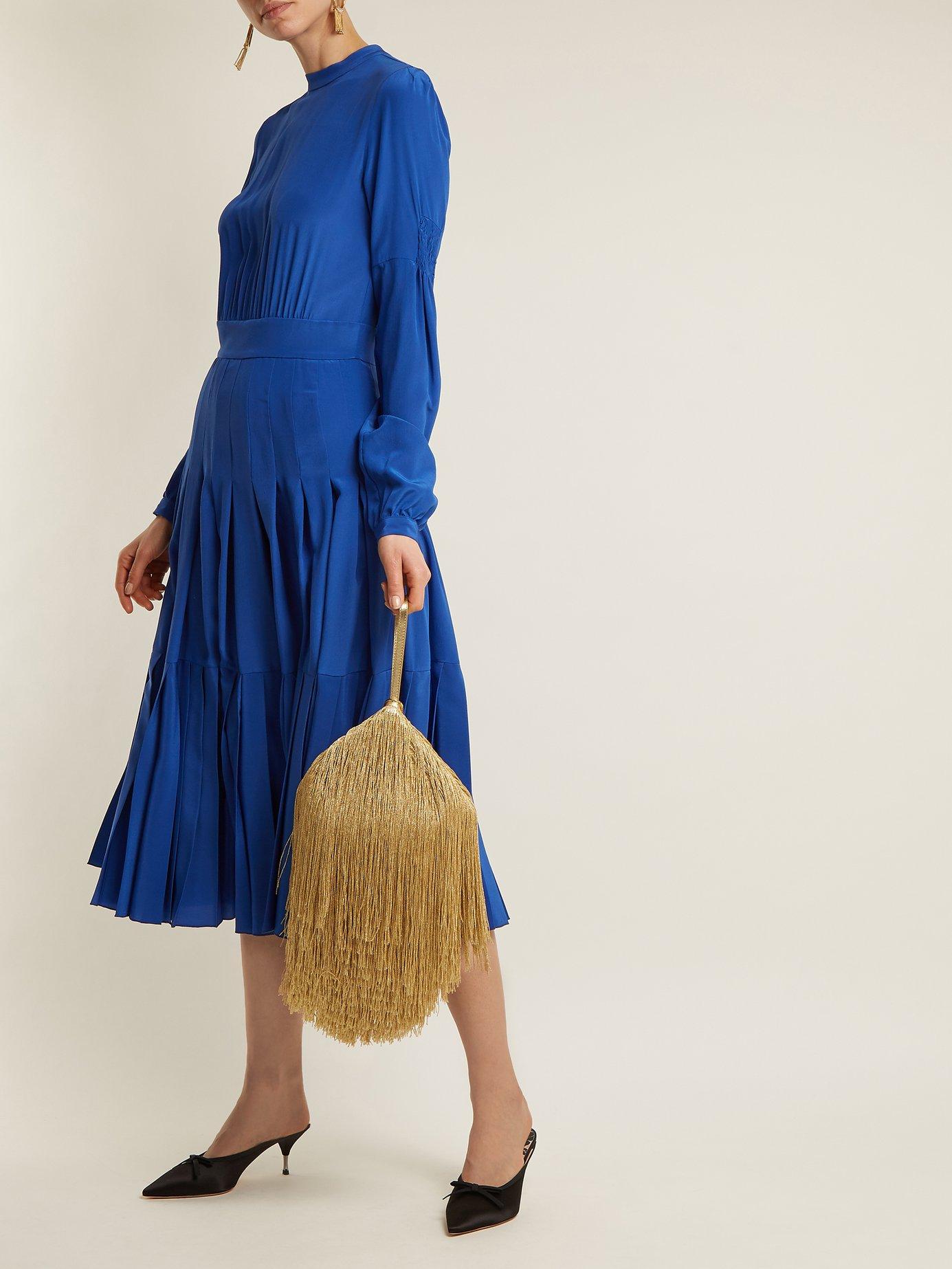 Pleated silk crepe de Chine midi dress by Rochas