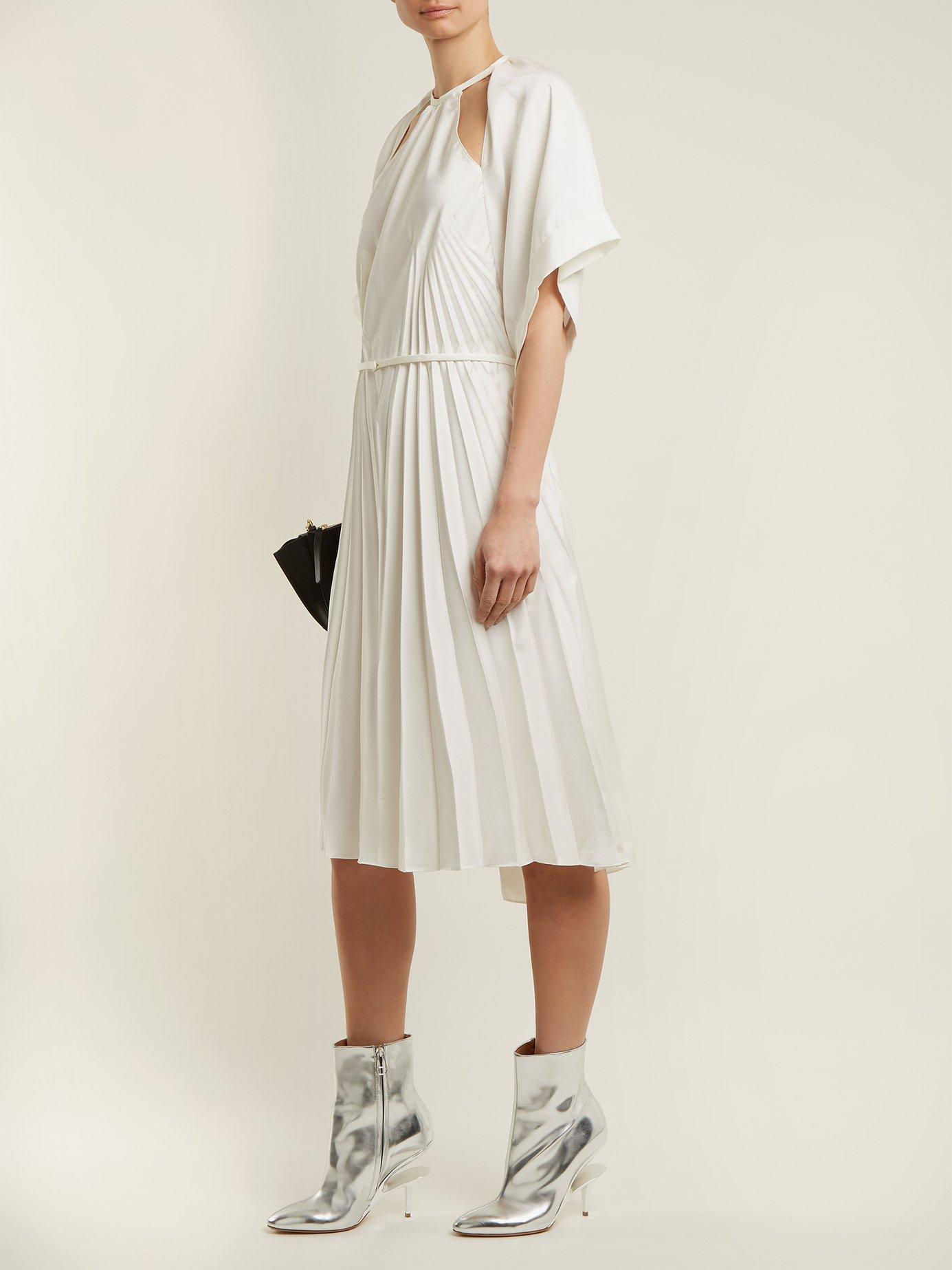 Pleated cut-out satin dress by Maison Margiela