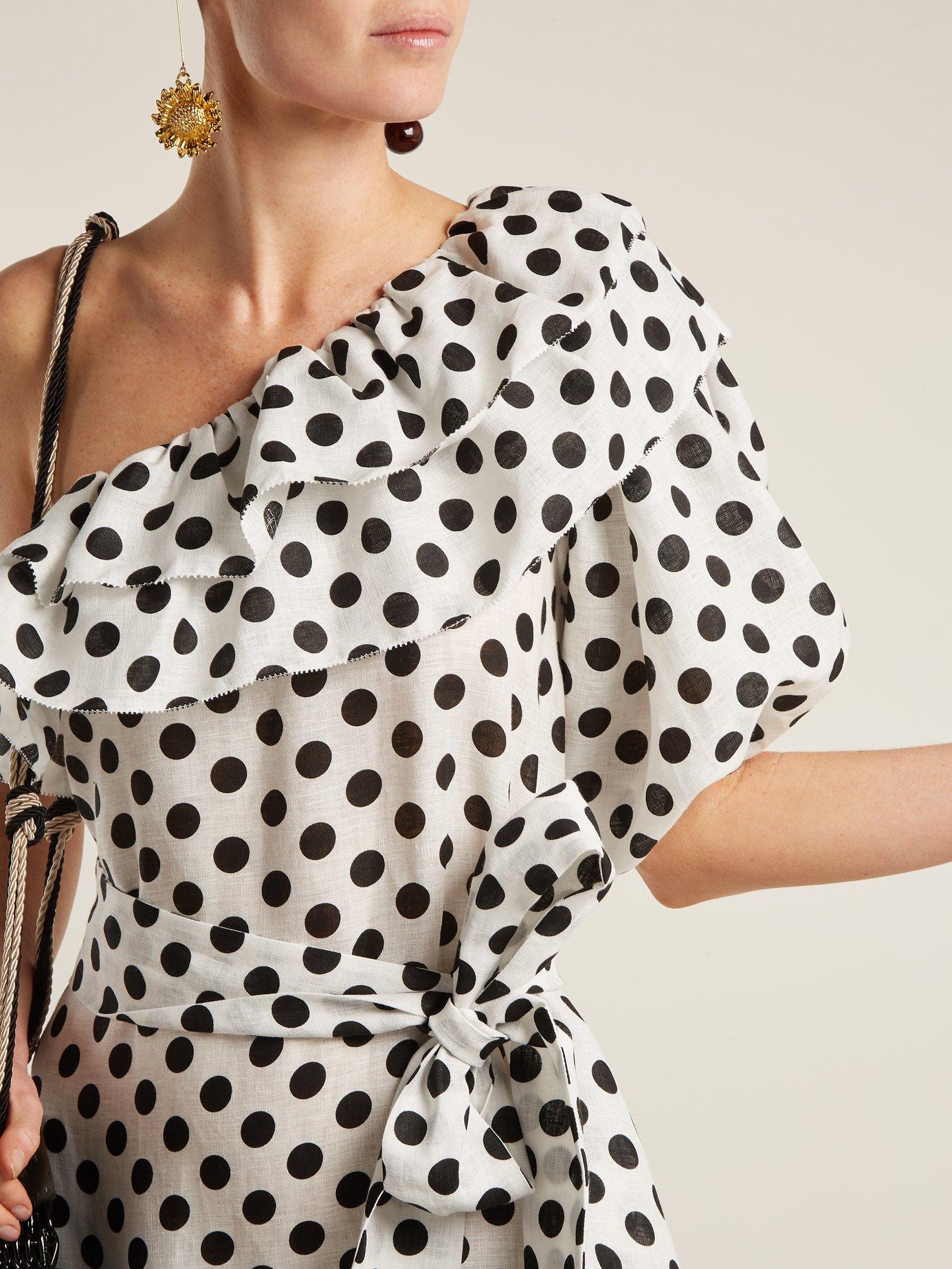 Arden one-shoulder polka-dot linen dress by Lisa Marie Fernandez