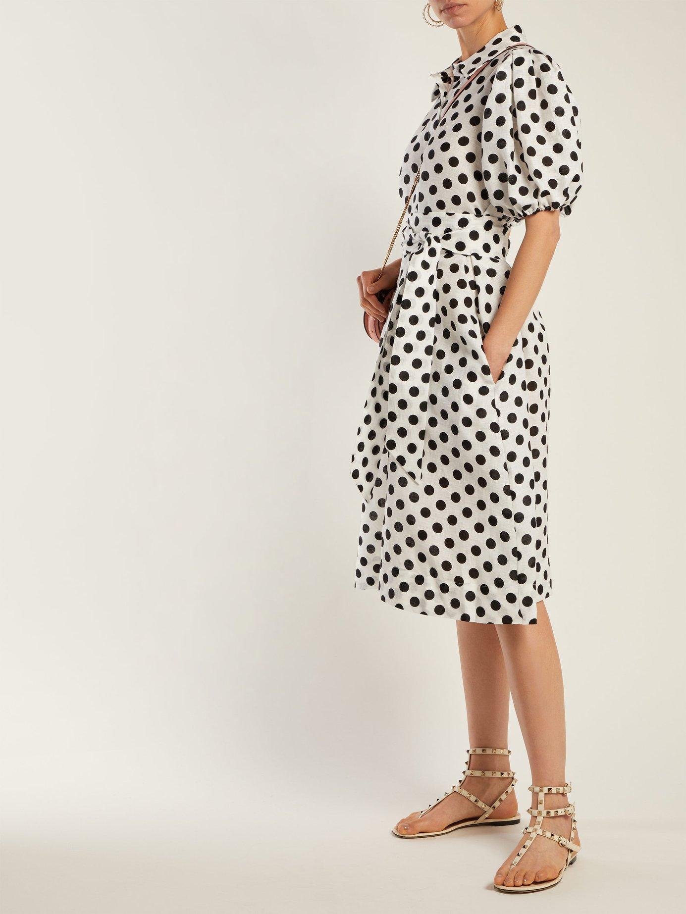 Polka-dot linen shirtdress by Lisa Marie Fernandez