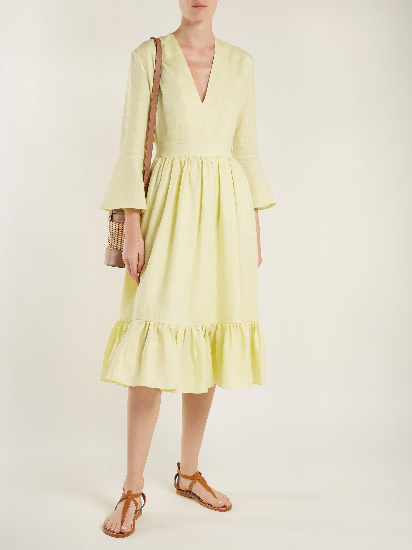 Sea Island linen midi dress by Loup Charmant