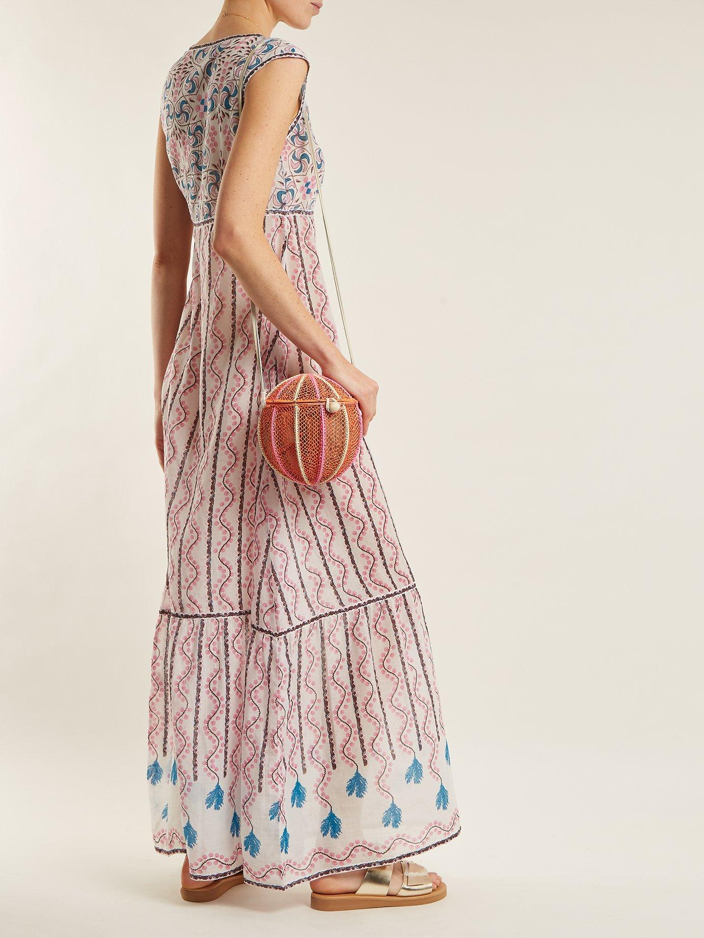 Astrid Kantha-Shell-print sleeveless maxi dress by Le Sirenuse, Positano
