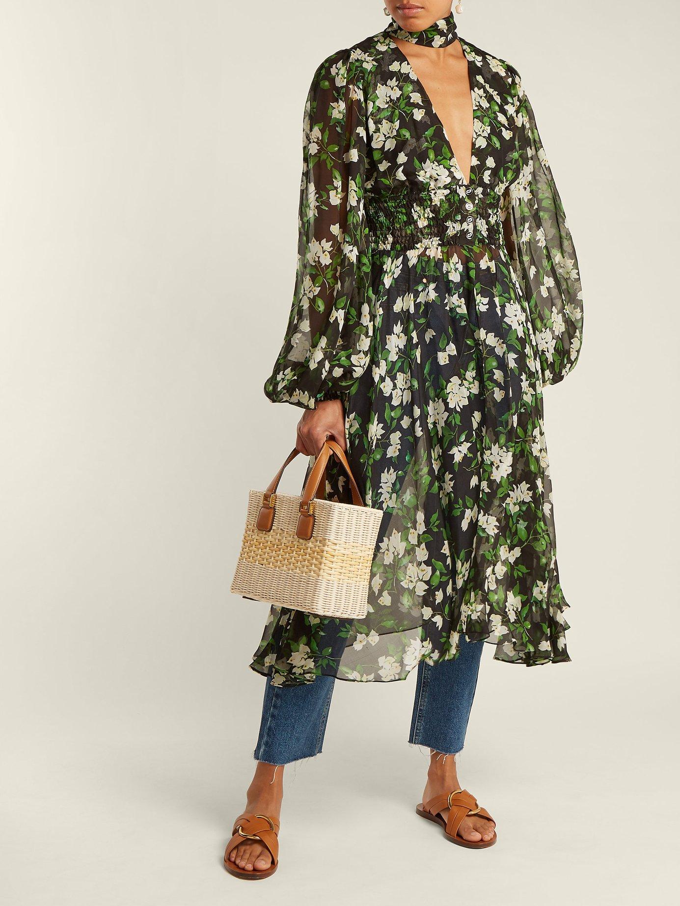 Syris floral-print silk chiffon dress by Caroline Constas