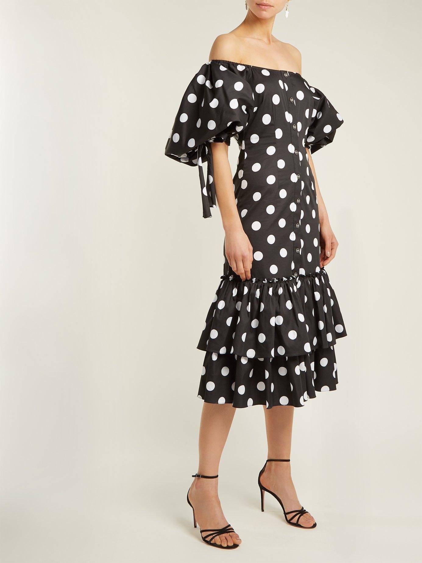 Nella off-the-shoulder polka-dot dress by Caroline Constas