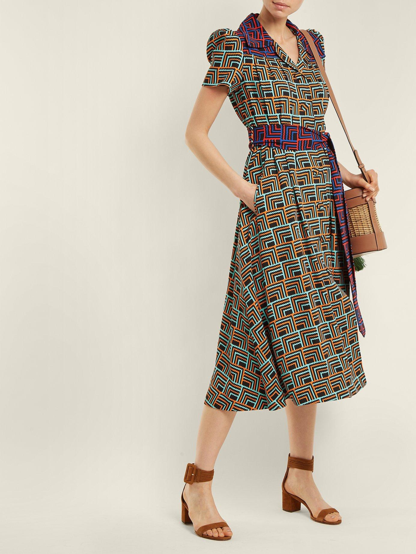 Geometric-print notch-lapel dress by Duro Olowu