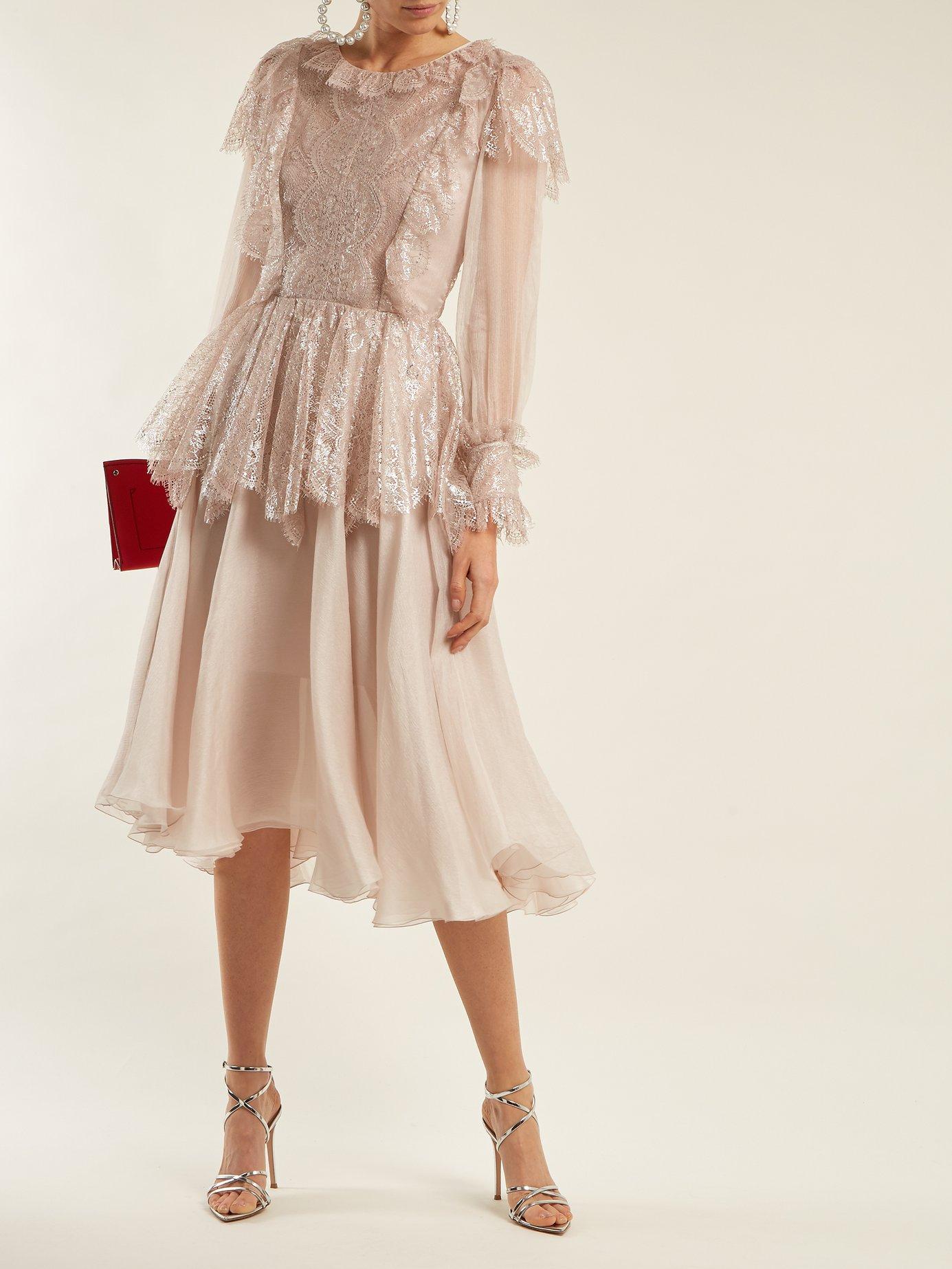 Fleur lace-trimmed silk-mousseline dress by Maria Lucia Hohan