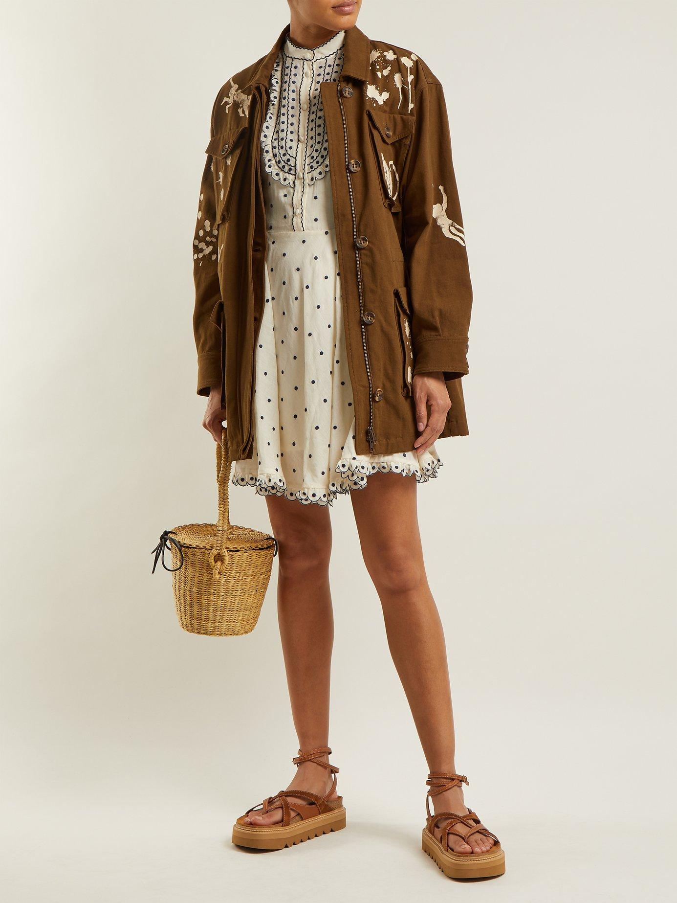Polka-dot scallop-edged cotton dress by Redvalentino