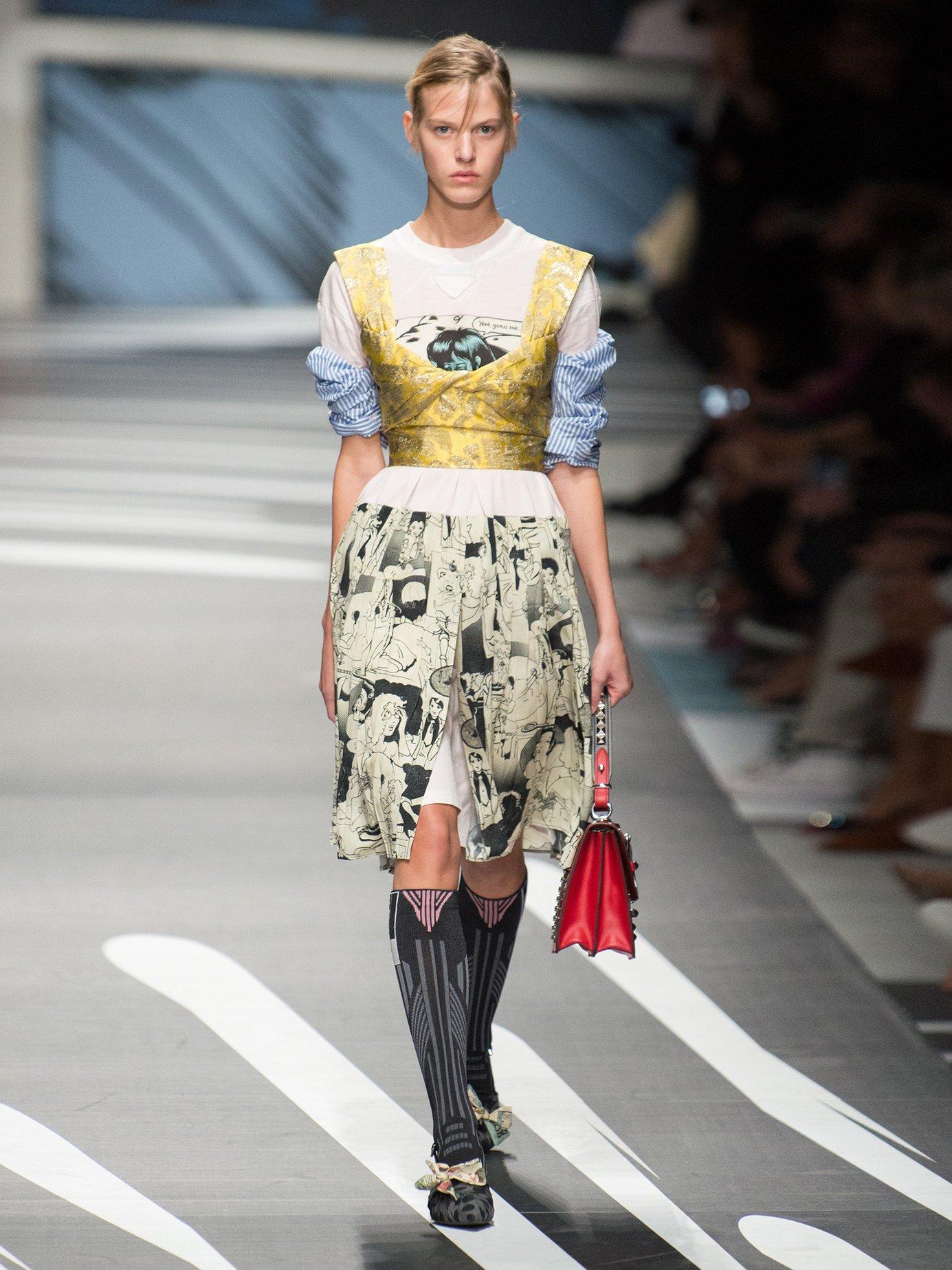 Comic-print cotton-jersey and silk dress by Prada