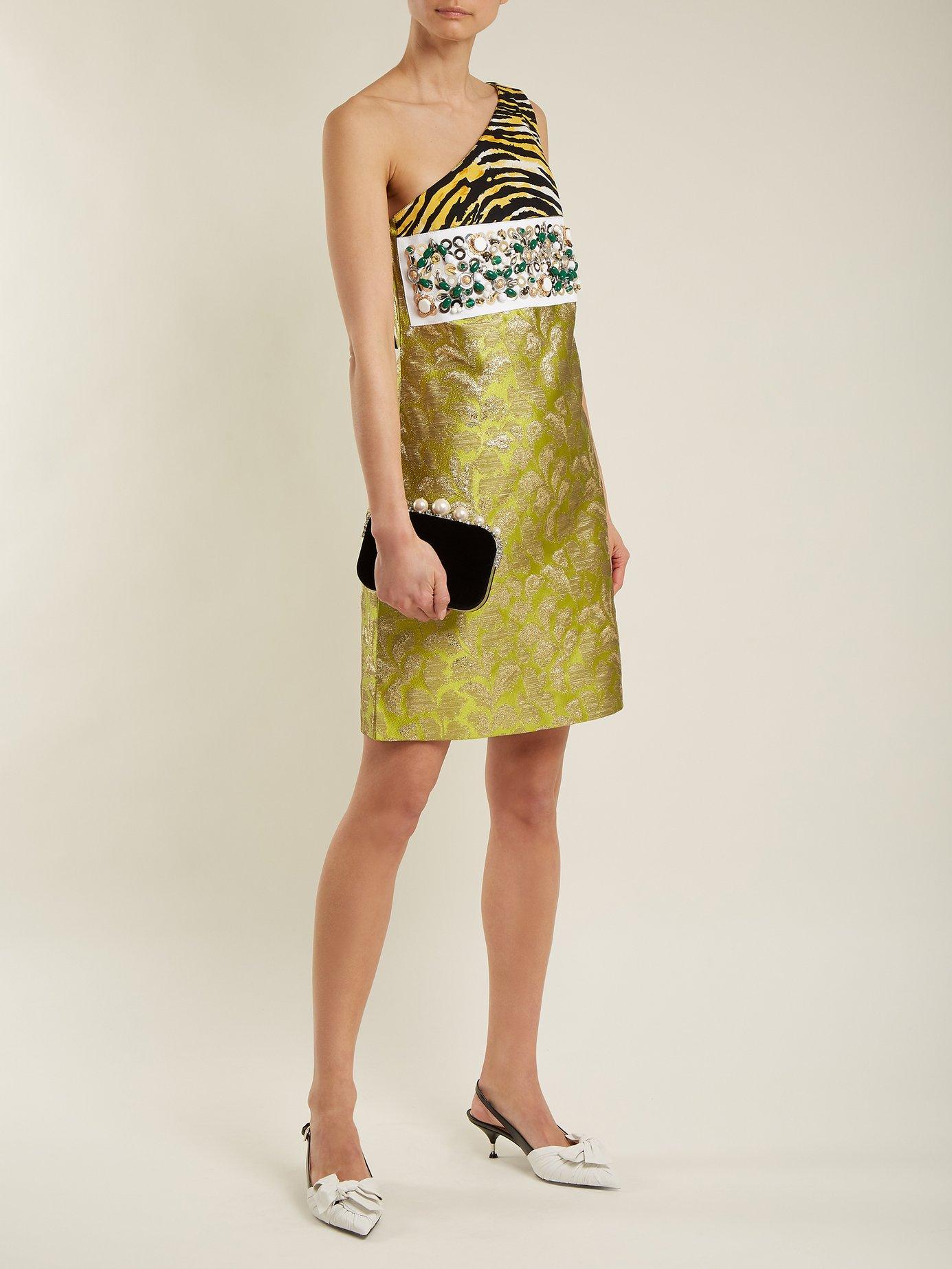 Contrast-panel asymmetric-neck brocade dress by Prada