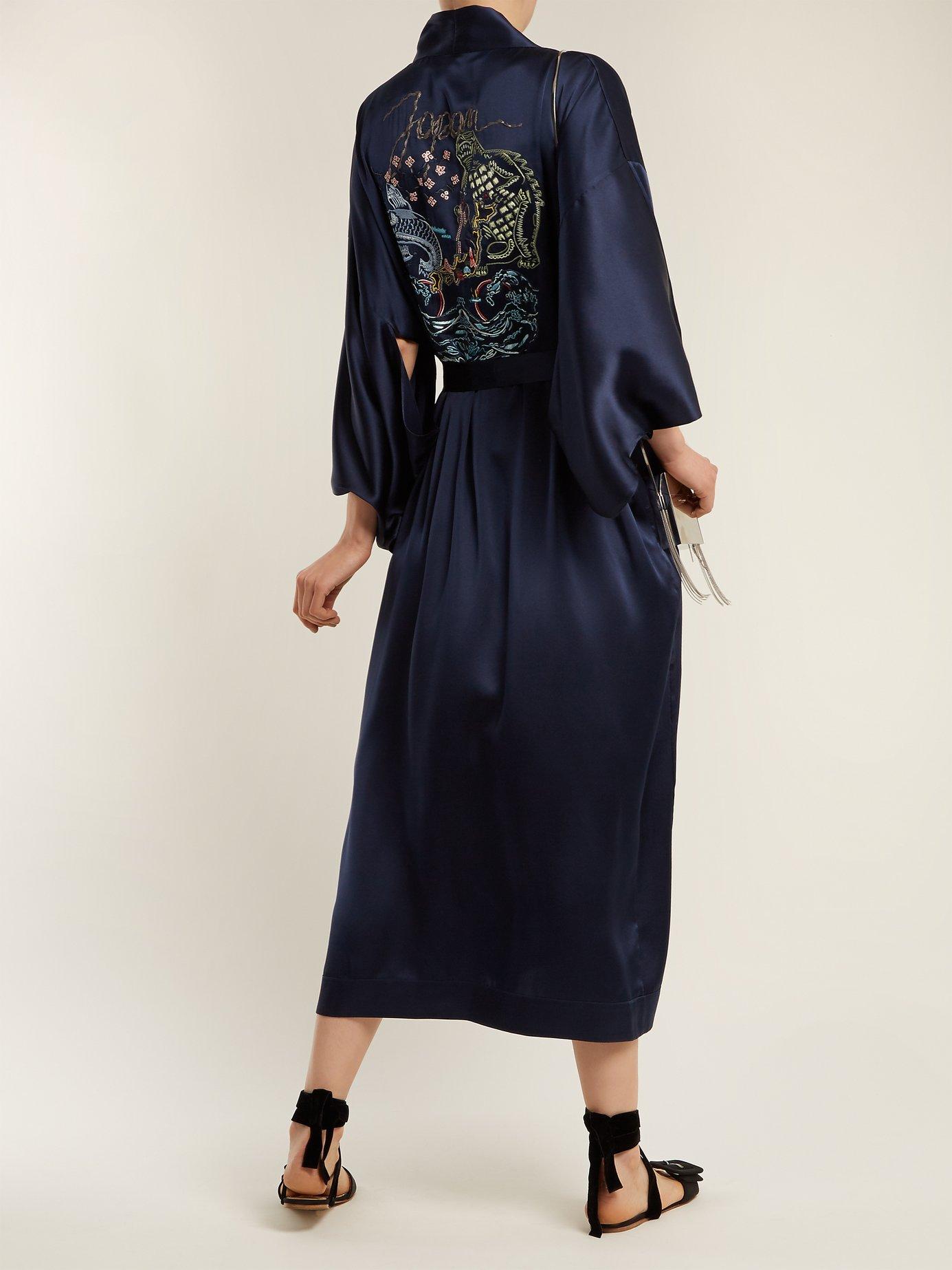 Embroidered silk kimono jacket by Chufy