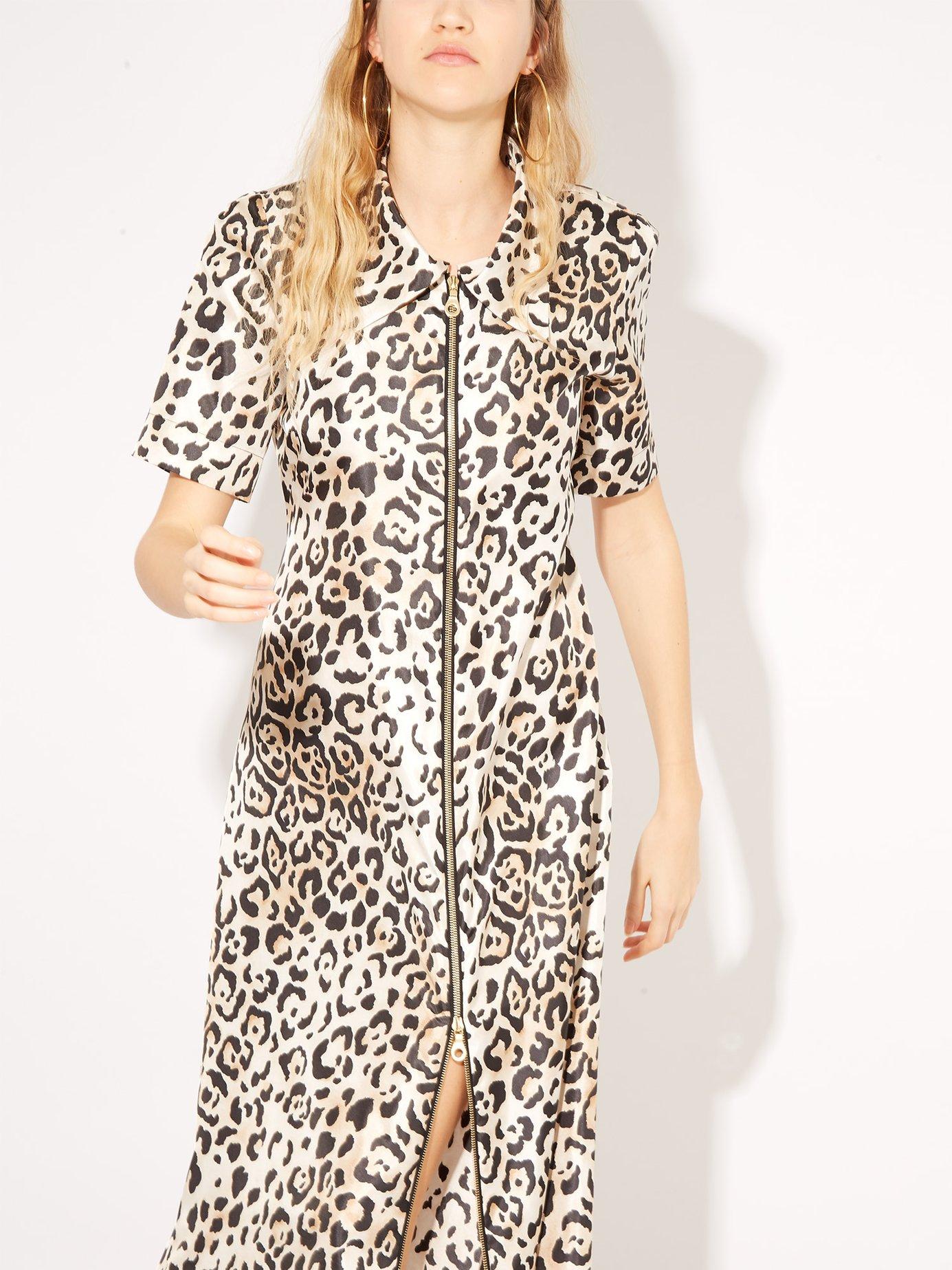 Zip-front leopard-print twill dress by Raey