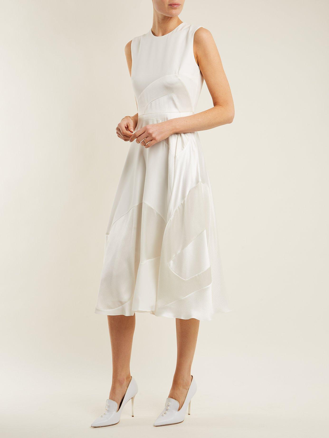 Keanu paneled silk-satin dress by Roksanda