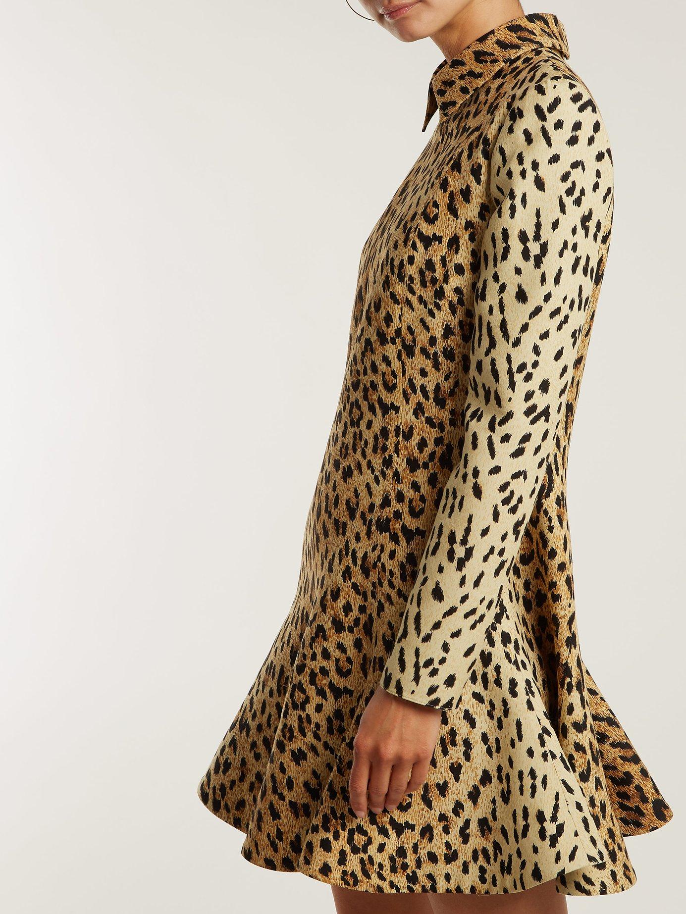 Leopard-print wool-silk crepe dress by Valentino