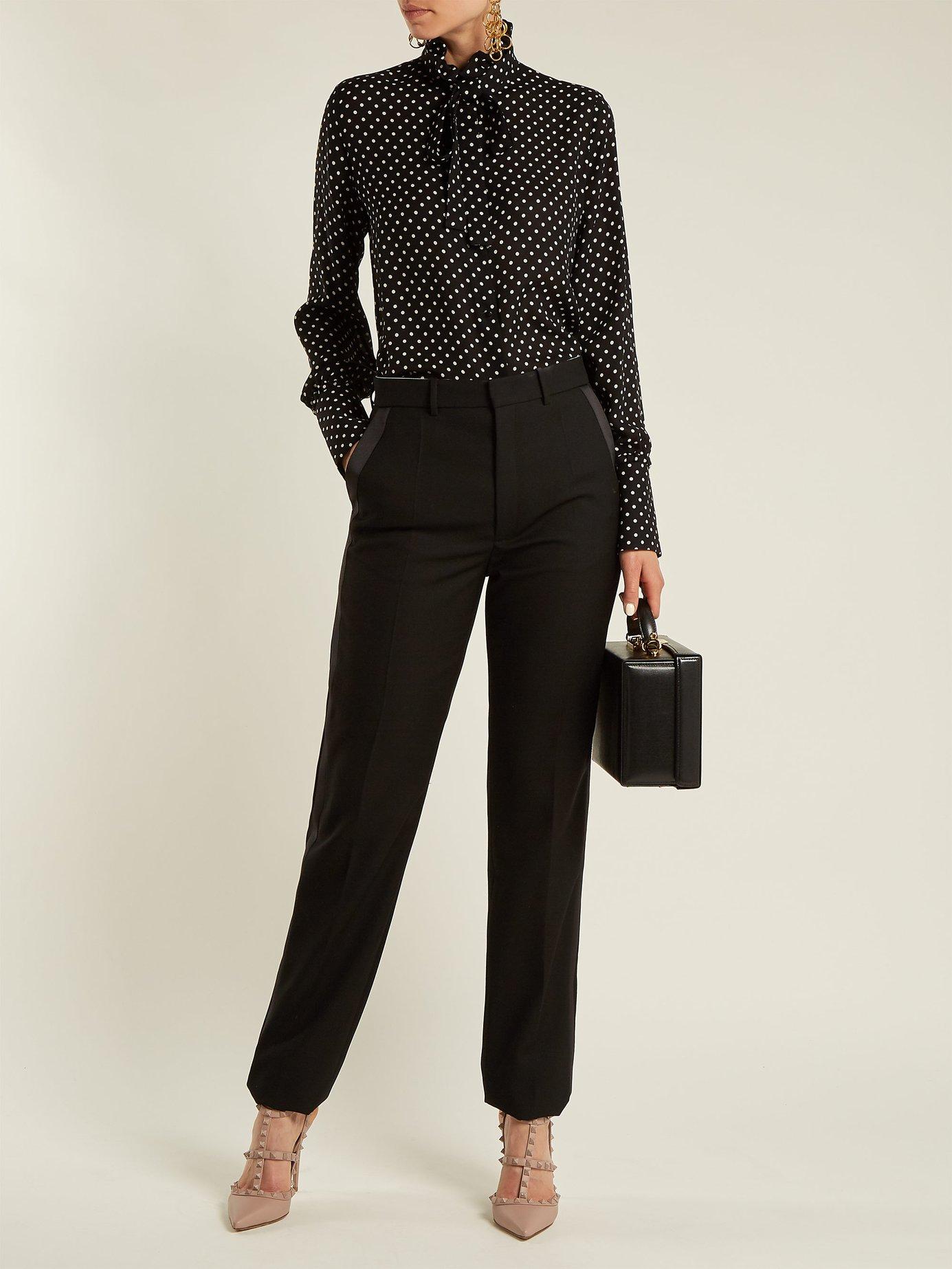 Polka-dot print silk-georgette blouse by Valentino
