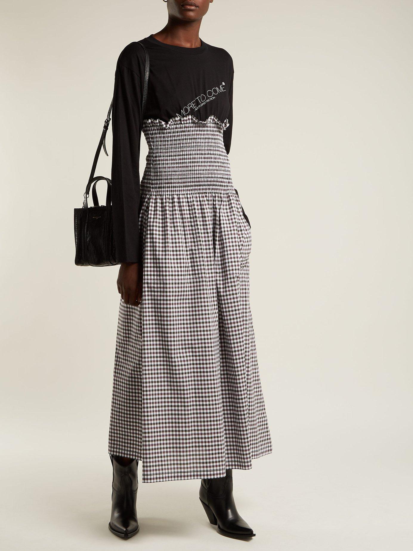 Contrast-panel gingham cotton dress by Mm6 Maison Margiela
