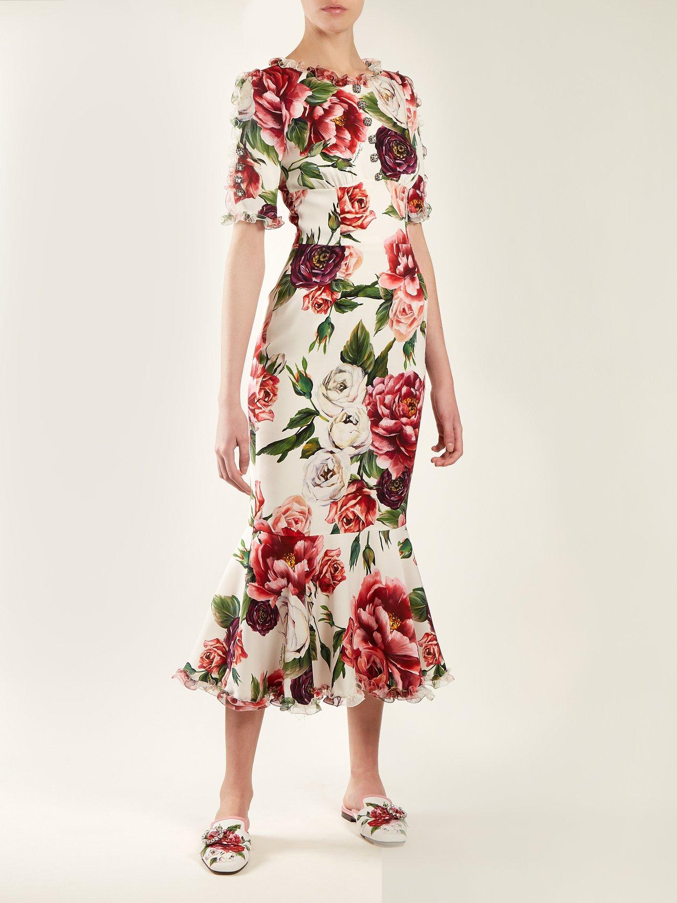 Peony-print silk-charmeuse dress by Dolce & Gabbana