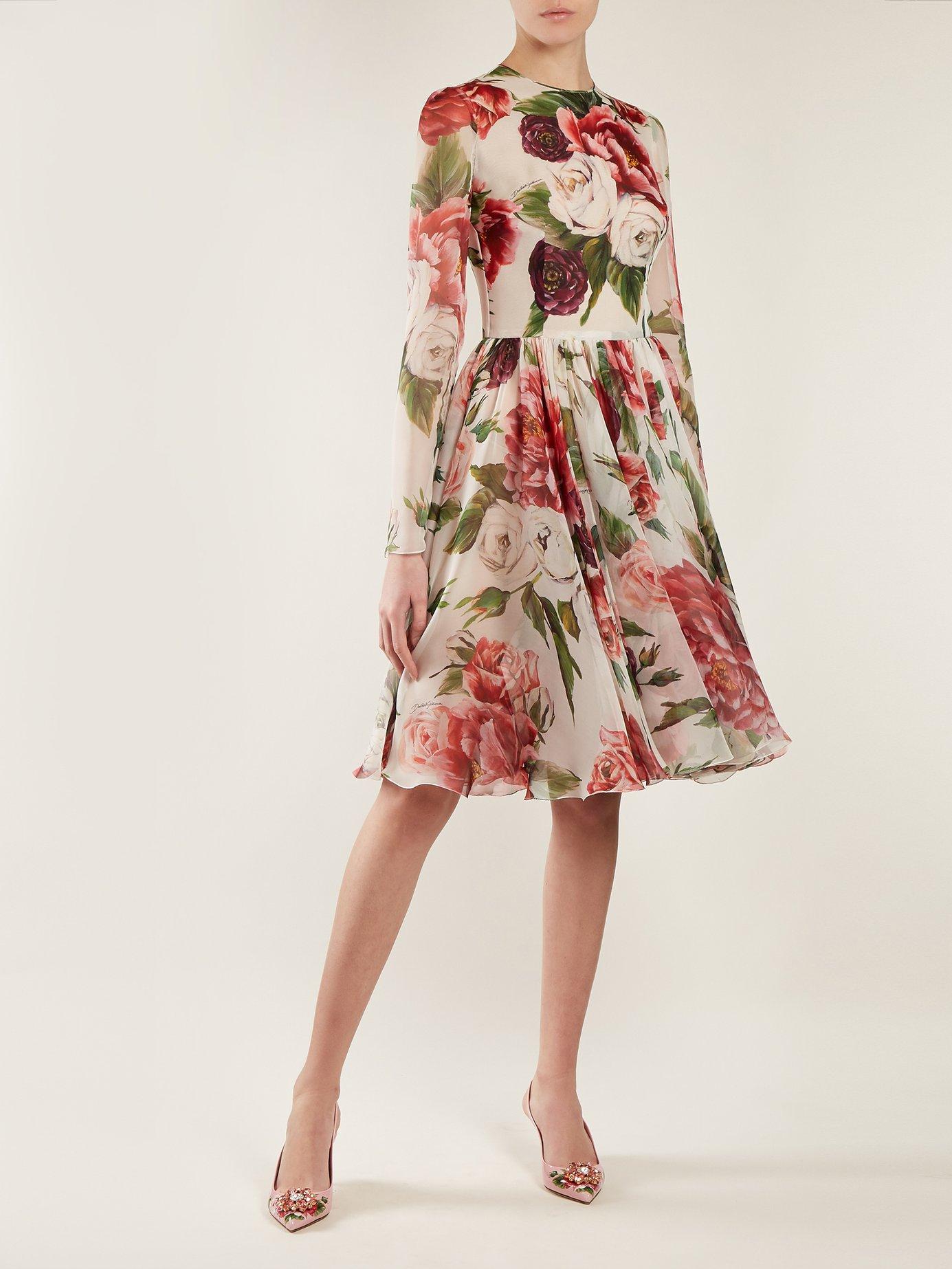 Peony and rose-print chiffon mini dress by Dolce & Gabbana