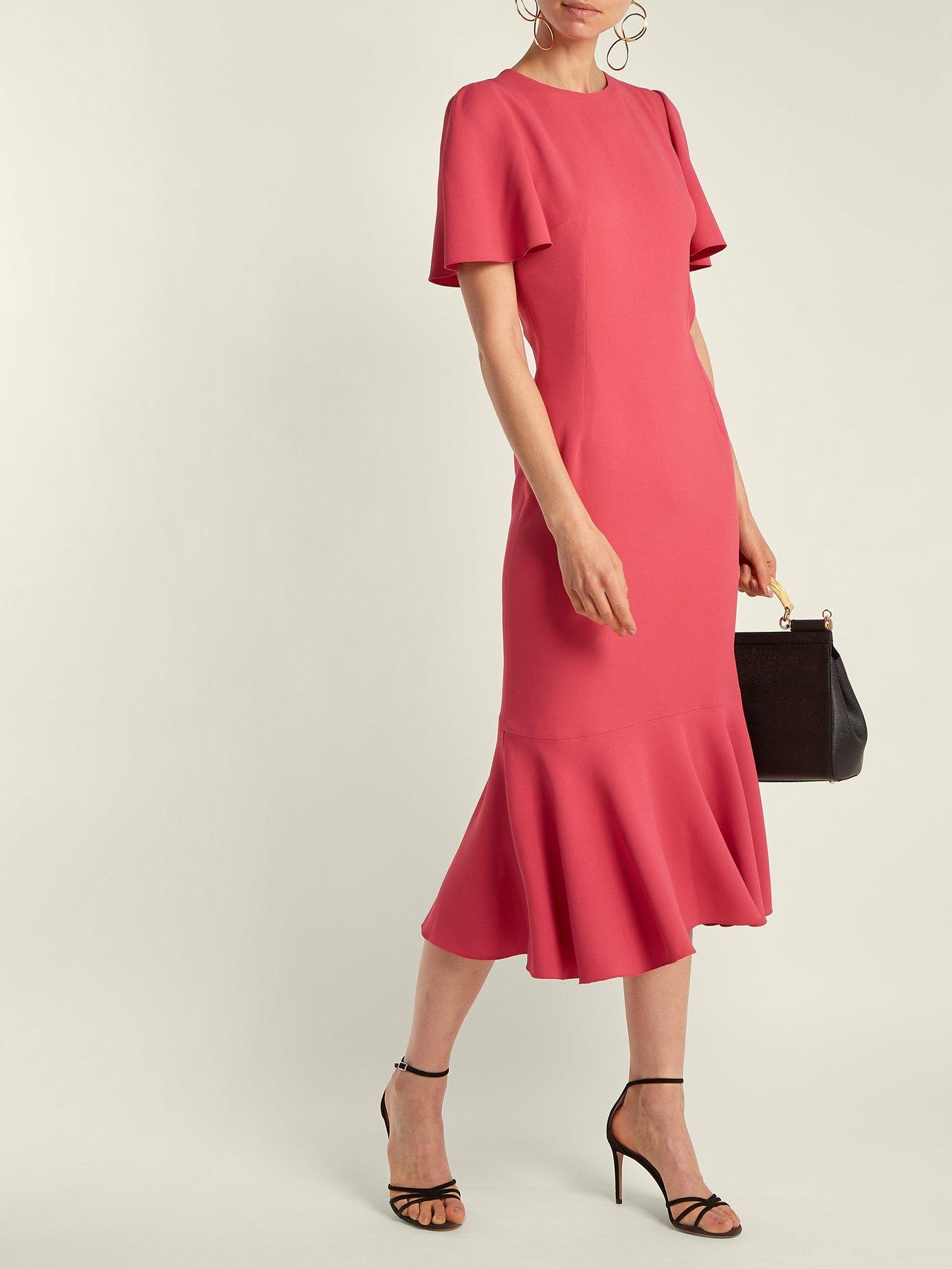 Fluted-sleeve cady dress by Dolce & Gabbana