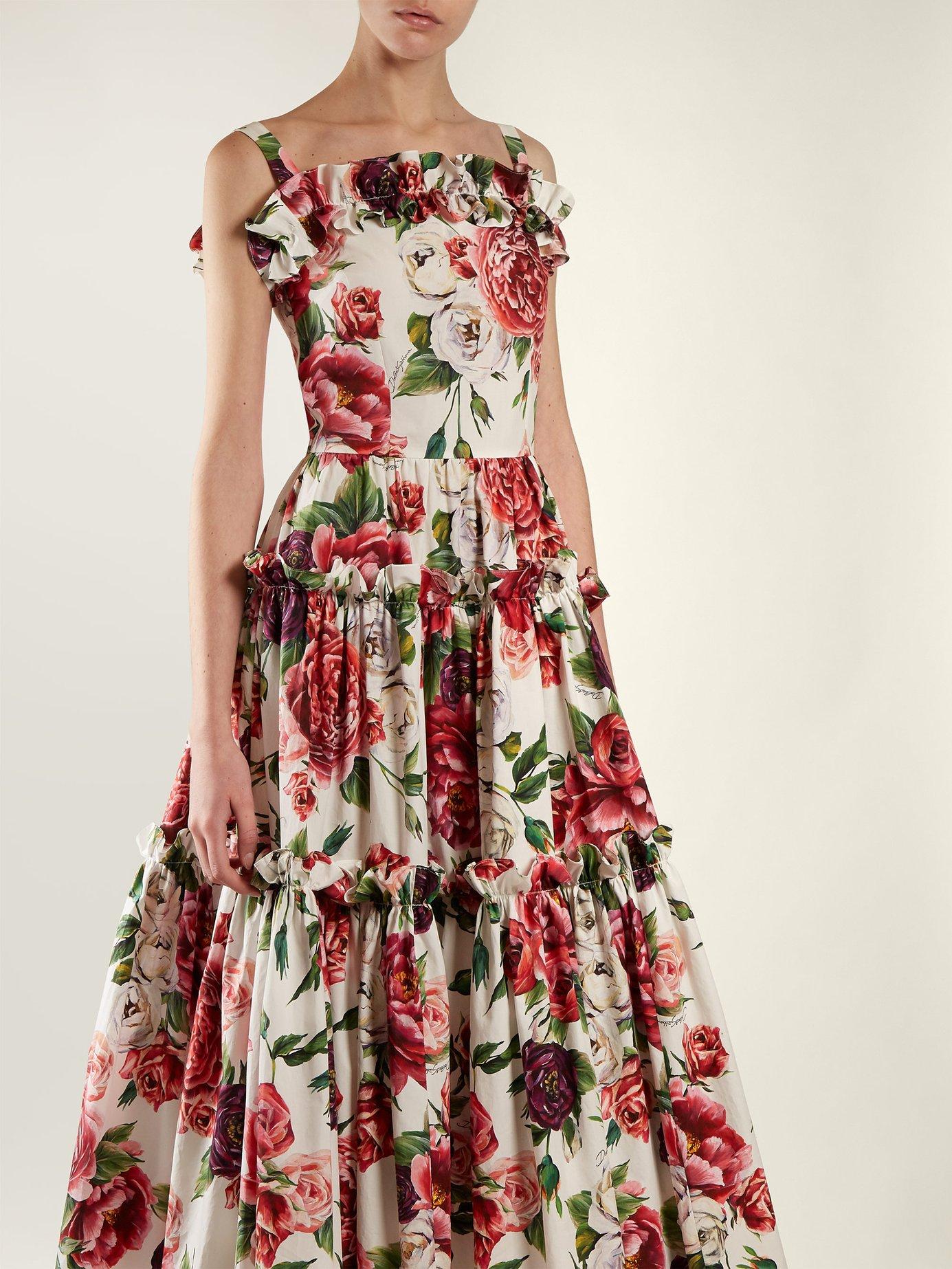 Peony and rose-print cotton poplin dress by Dolce & Gabbana