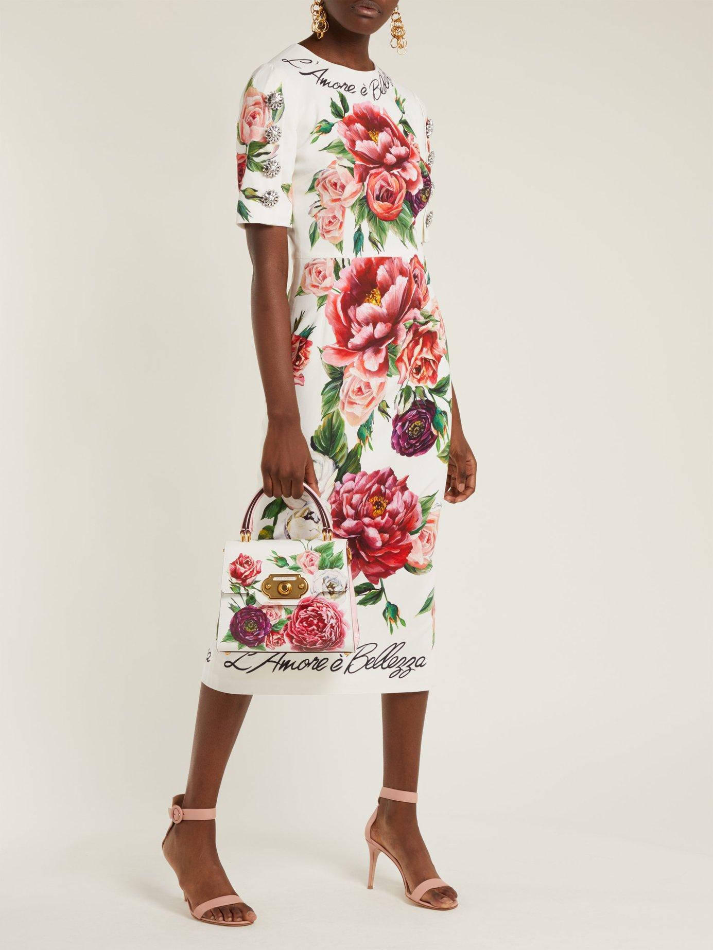 L'amore e Bellezza peony-print cady midi dress by Dolce & Gabbana
