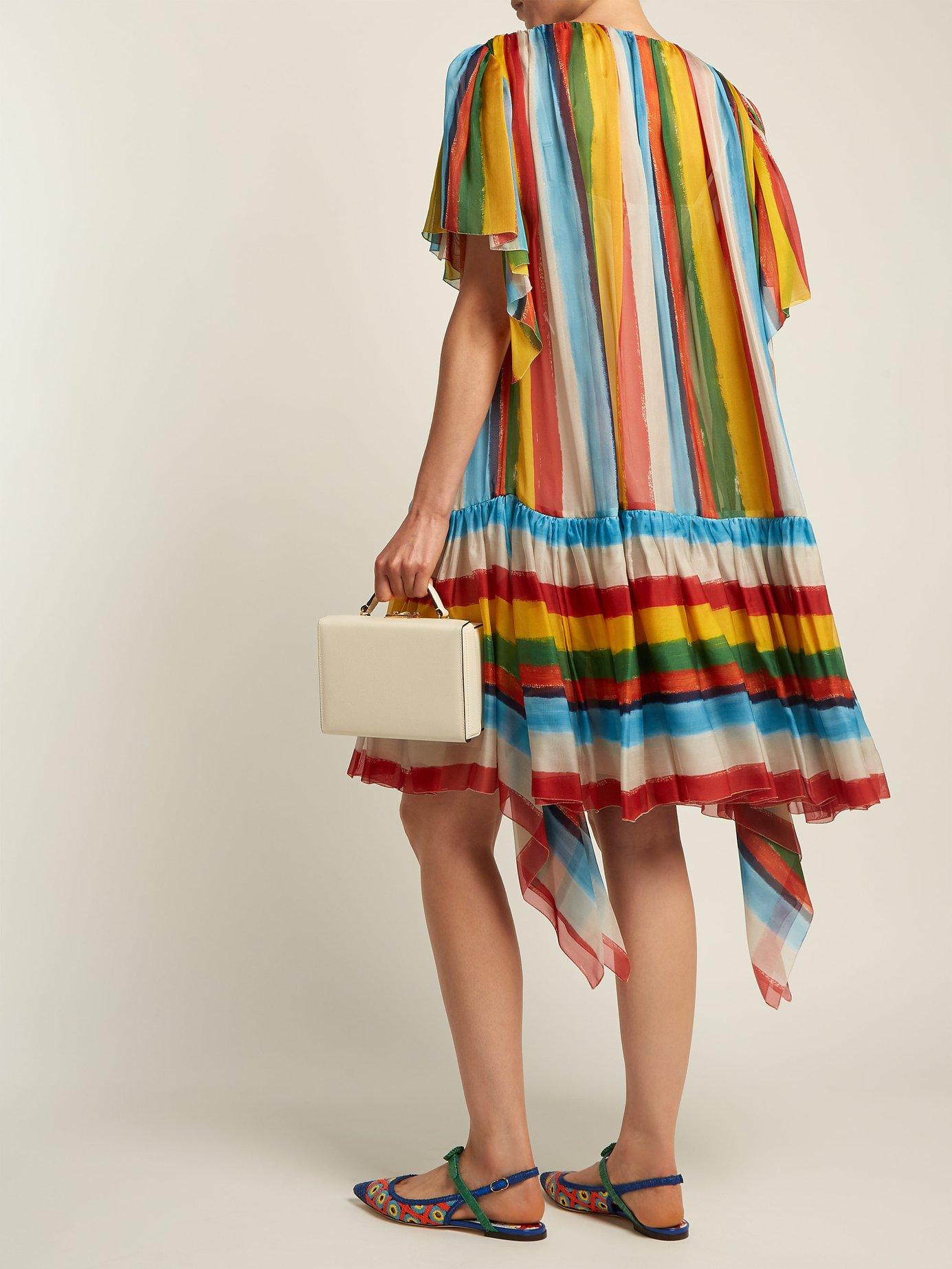 Striped boat-neck chiffon mini dress by Dolce & Gabbana