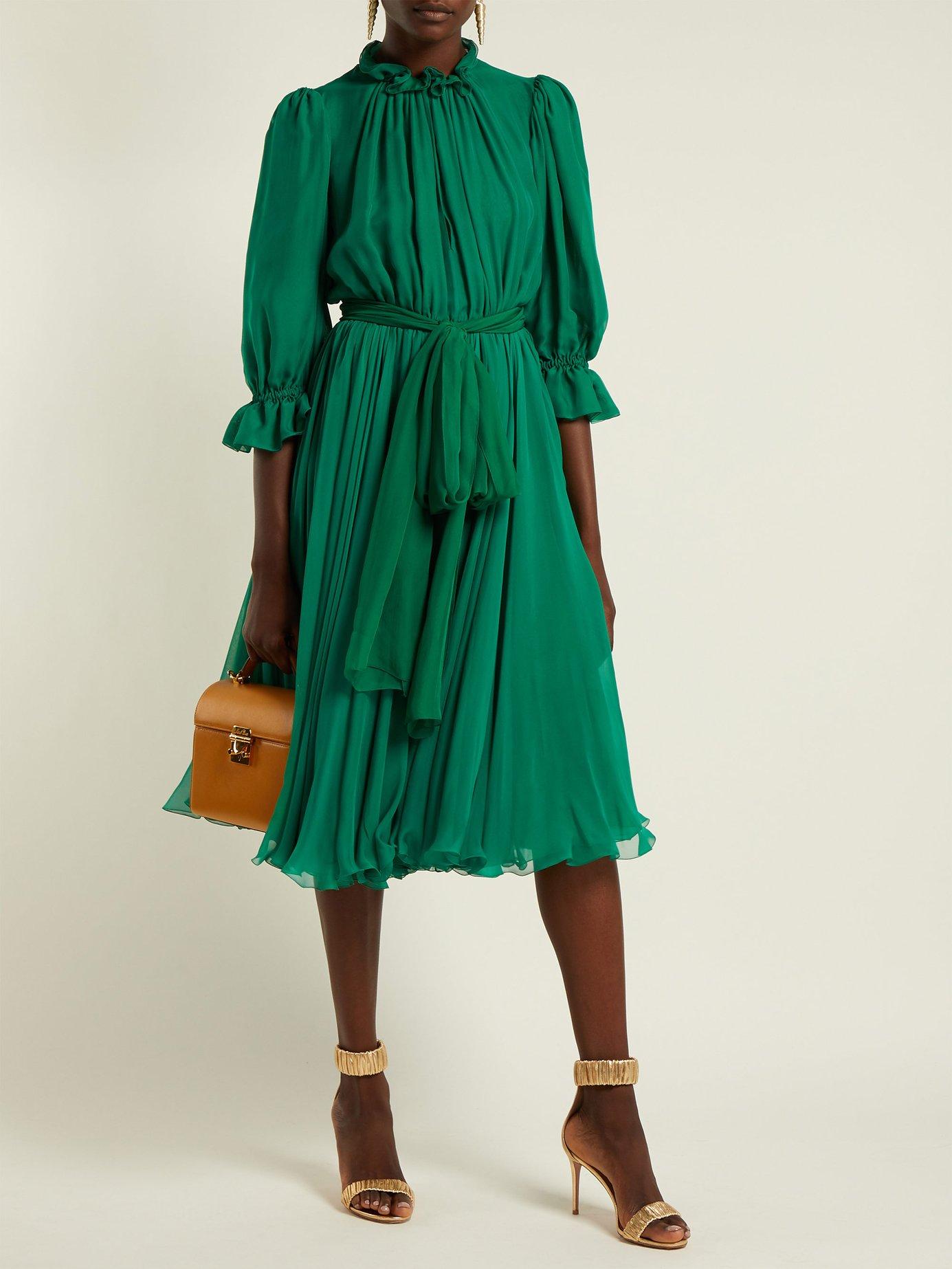 Ruffle-trimmed chiffon midi dress by Dolce & Gabbana