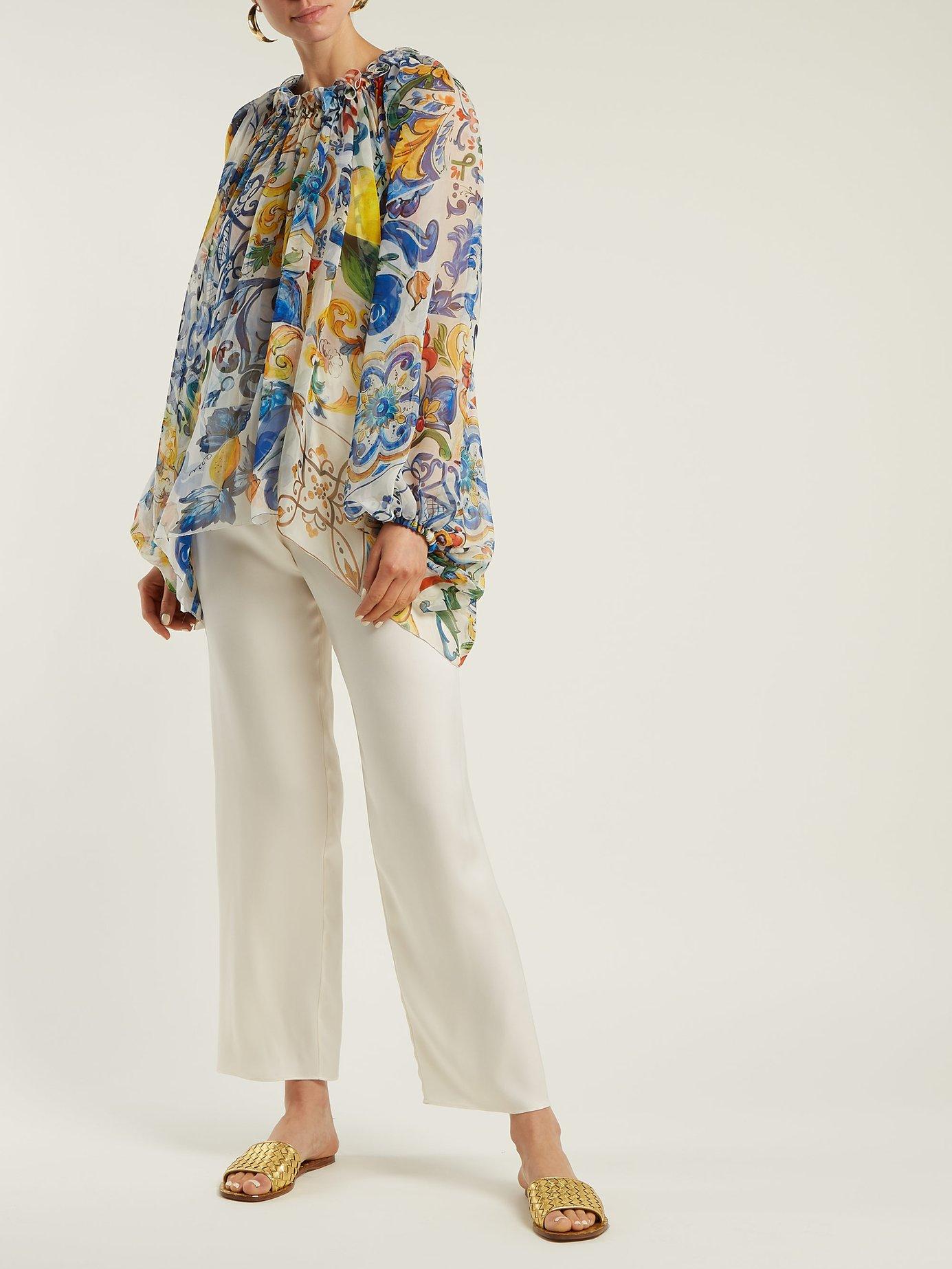 Majolica-print silk-chiffon blouse by Dolce & Gabbana