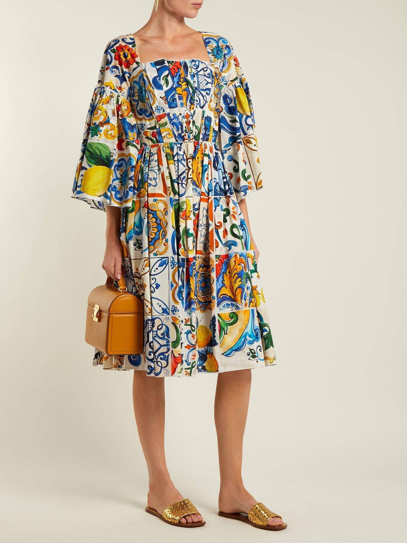 Majolica-print square-neck cotton-poplin dress by Dolce & Gabbana