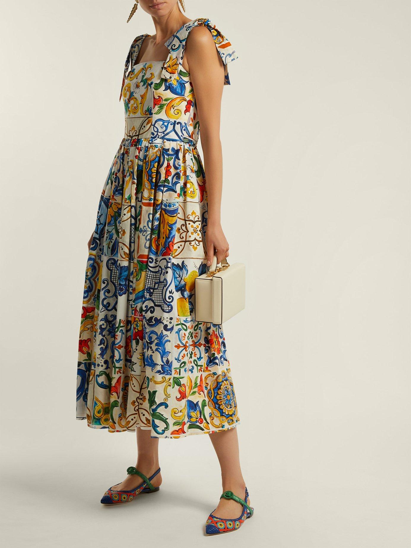 Majolica-print cotton-poplin midi dress by Dolce & Gabbana