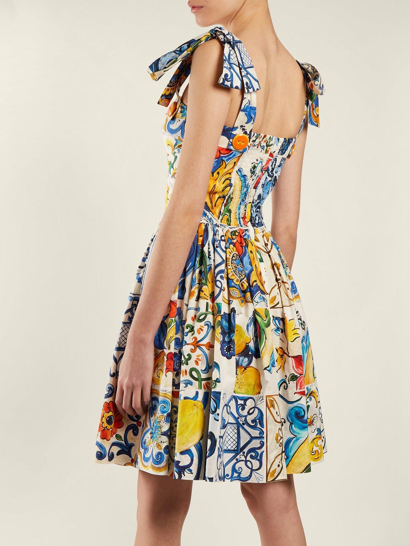 Majolica-print cotton-poplin mini dress by Dolce & Gabbana