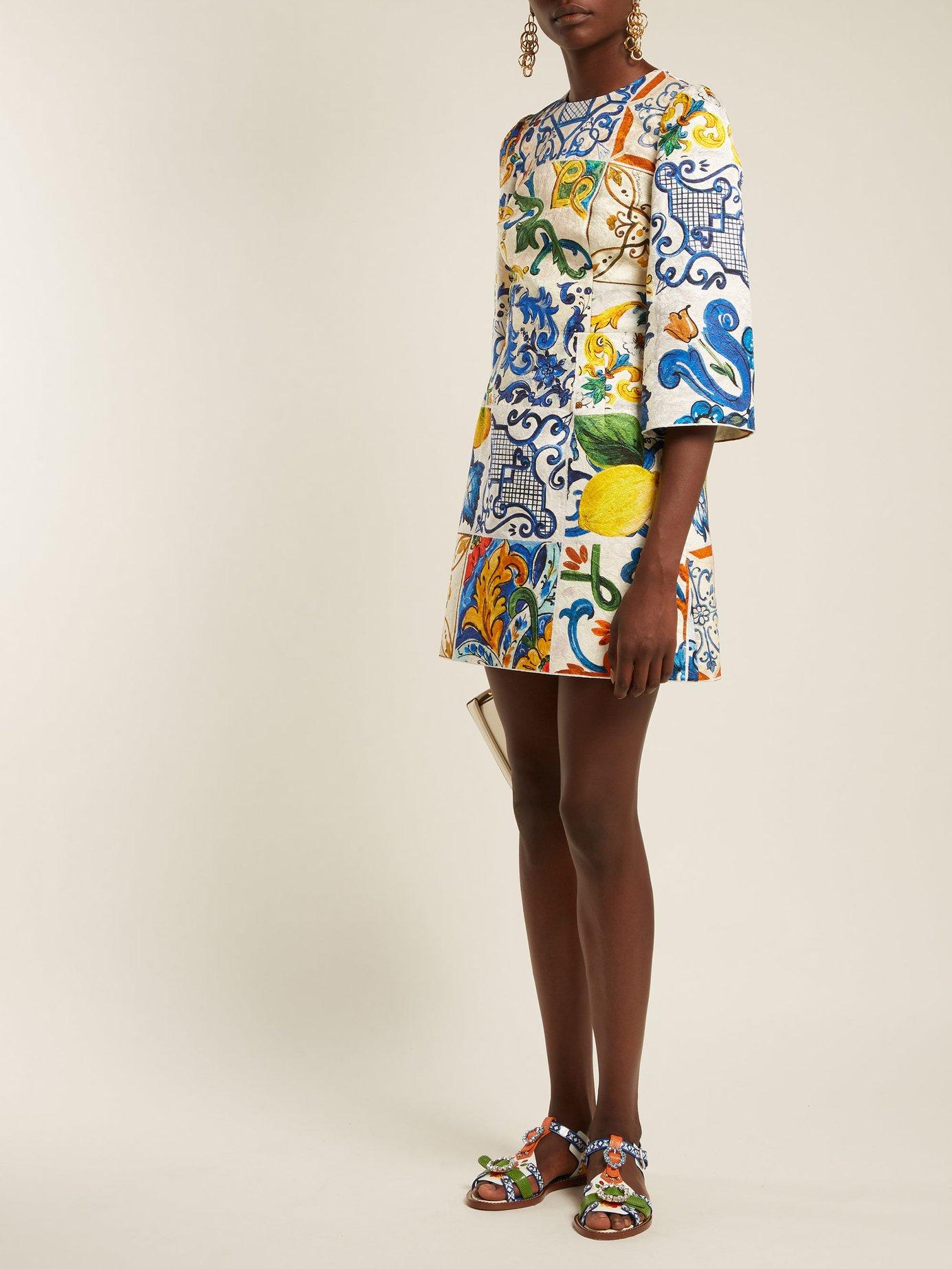 Majolica-print brocade dress by Dolce & Gabbana