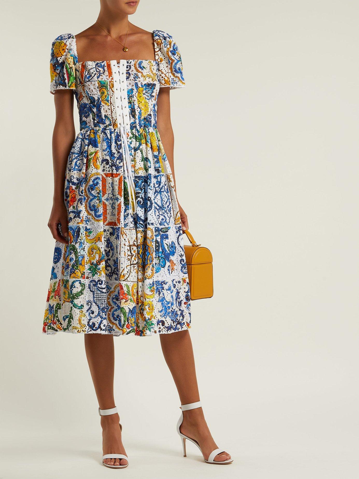 Majolica-print cotton broderie-anglaise midi dress by Dolce & Gabbana