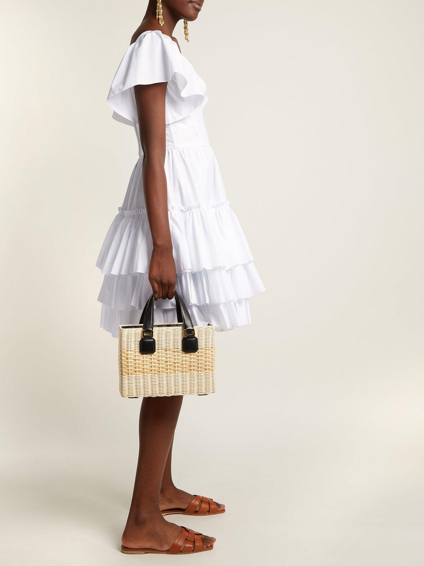 Tiered-ruffle cotton-poplin mini dress by Dolce & Gabbana