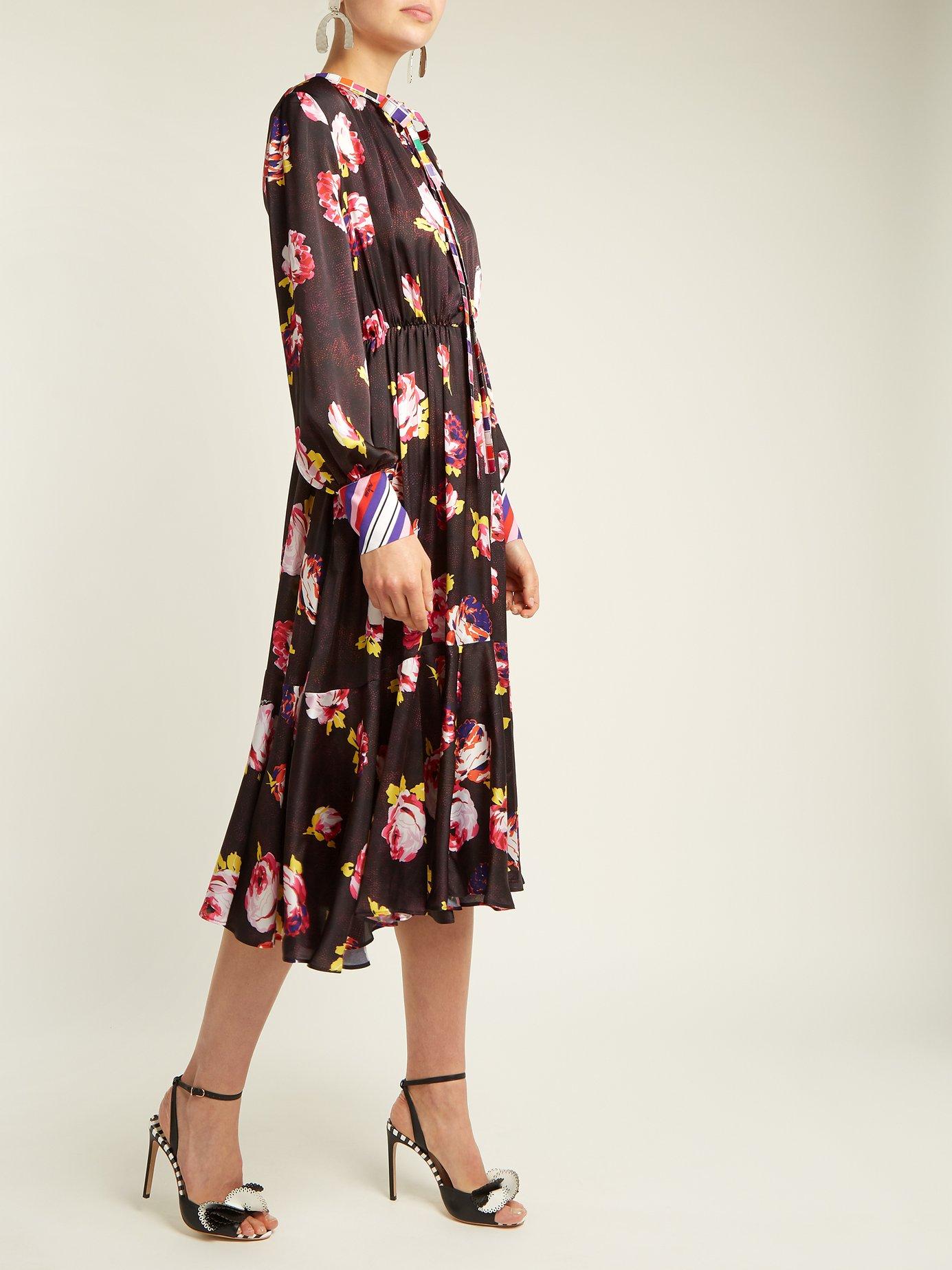 Rose-print satin midi dress by Msgm