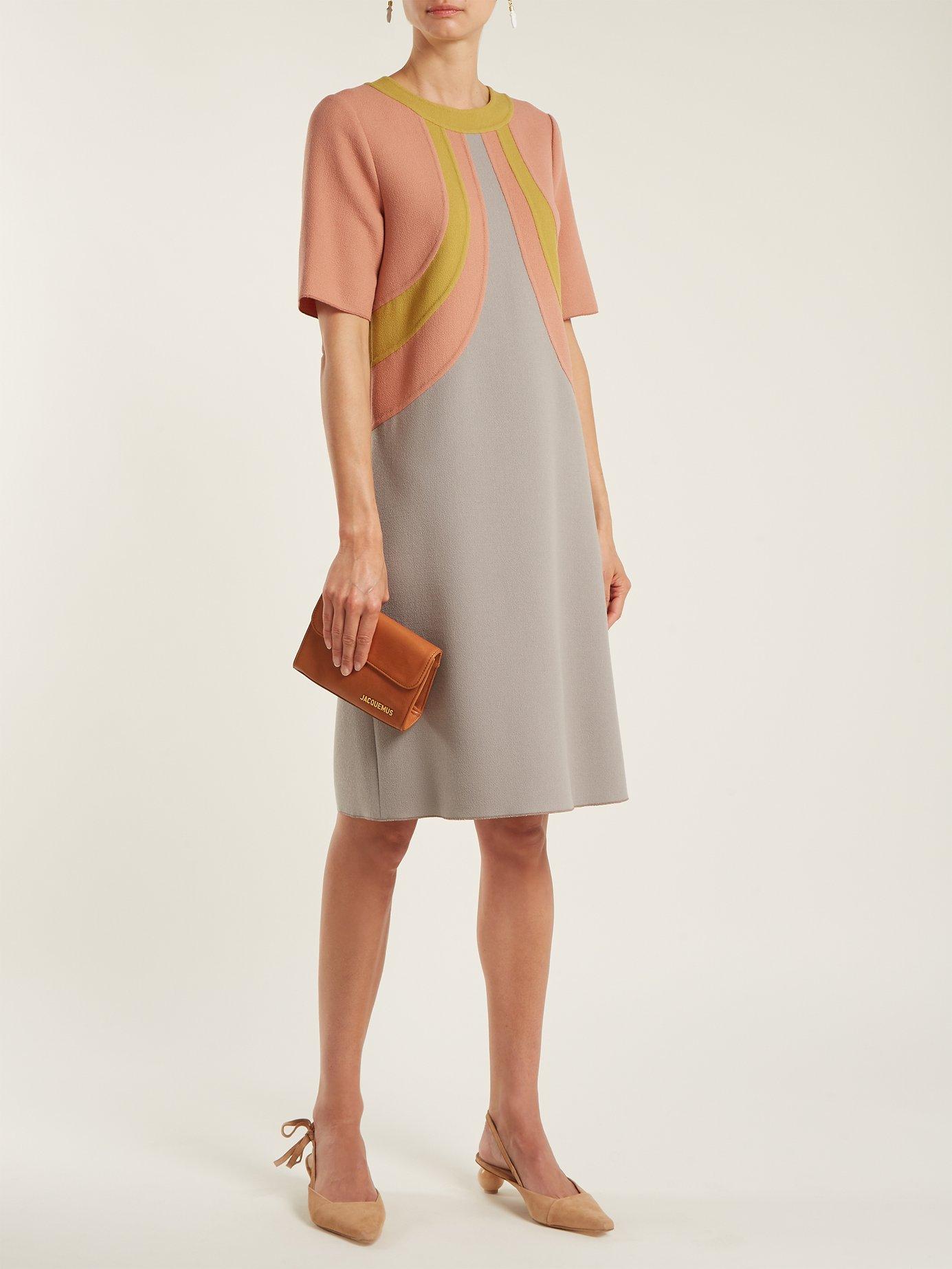 Colour-block wool dress by Bottega Veneta
