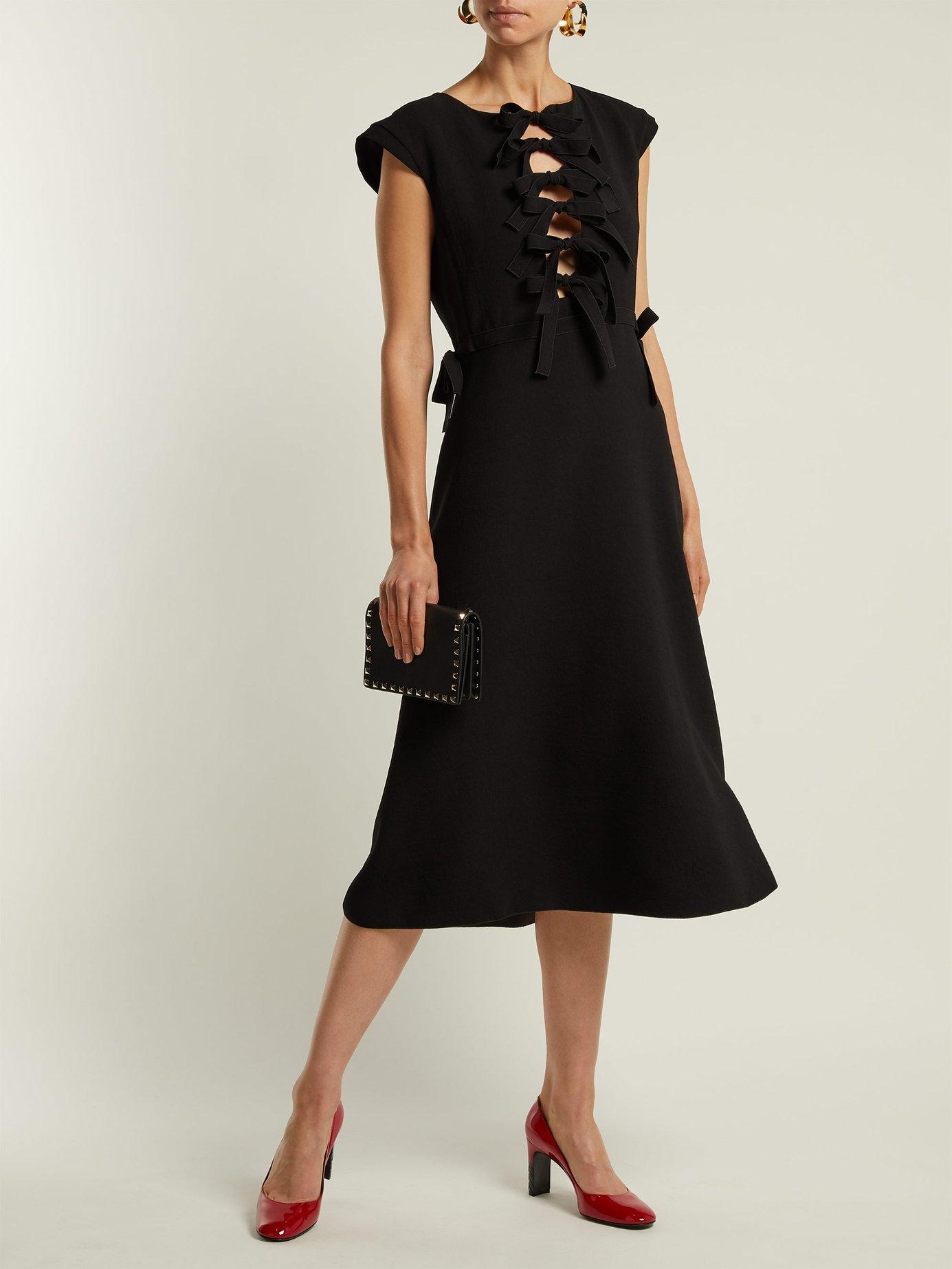 Tiered-ties crepe midi dress by Bottega Veneta