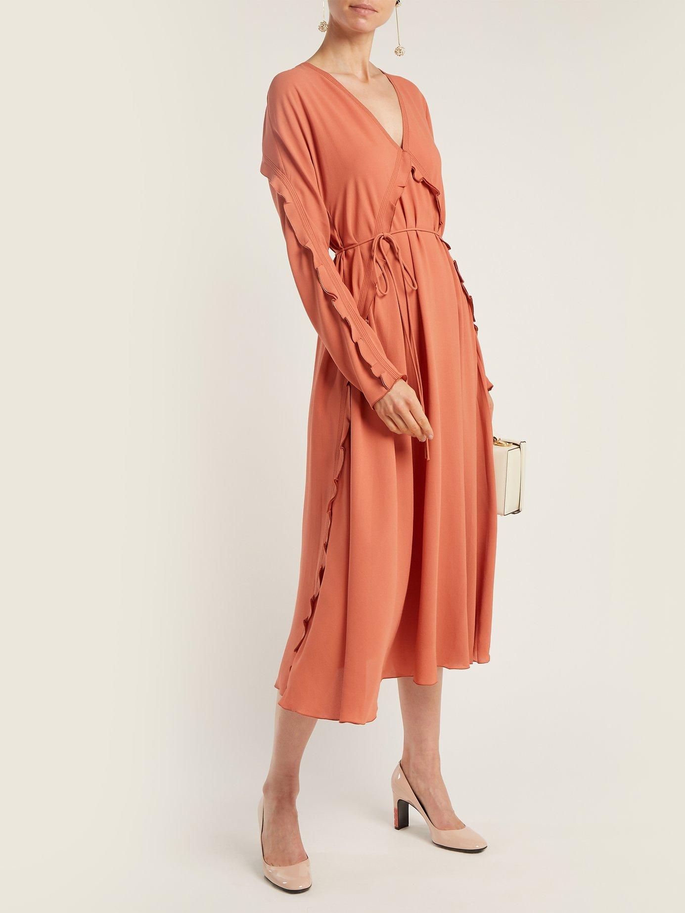 Ruffle-trimmed silk dress by Bottega Veneta