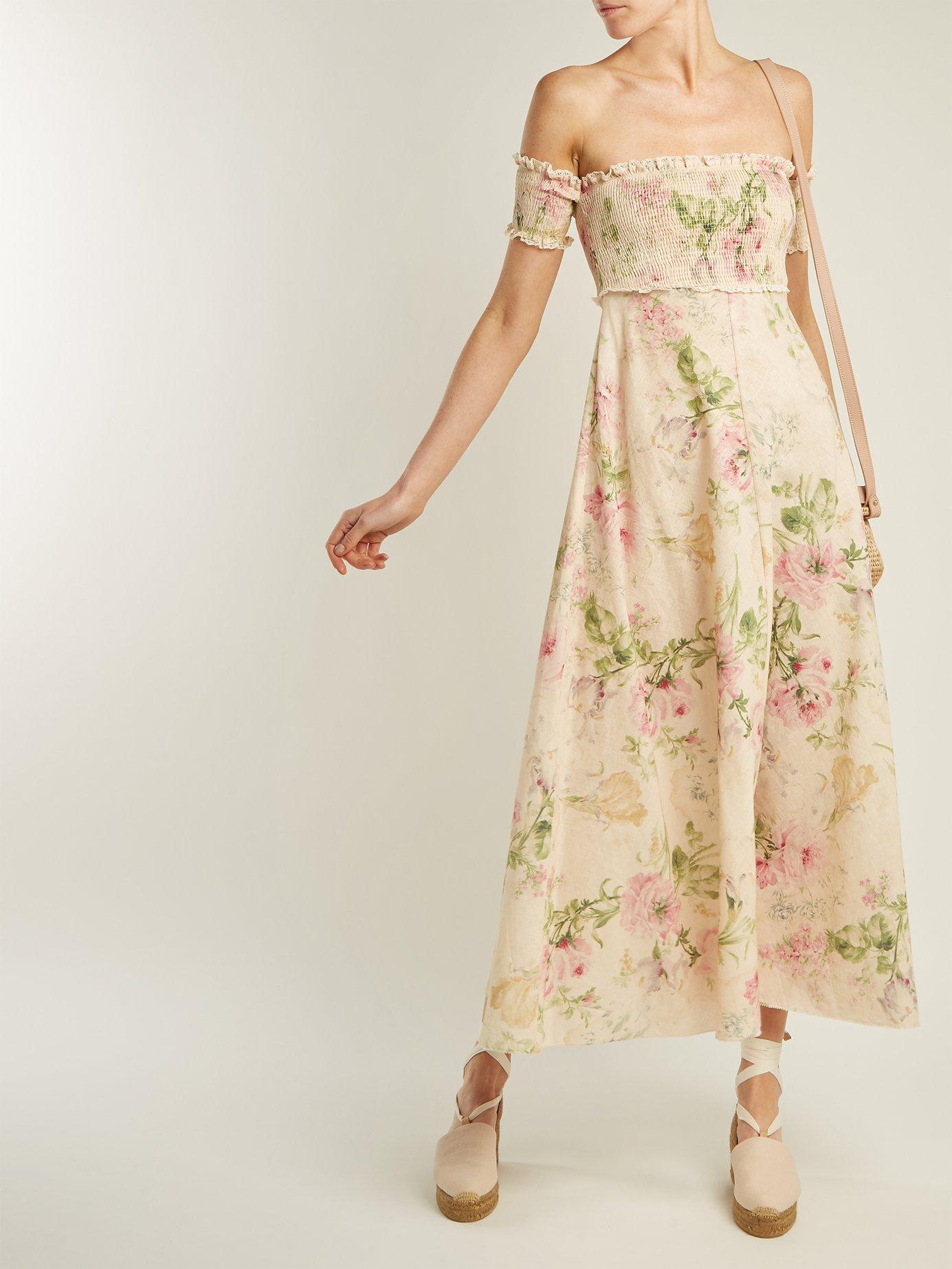 Iris shirred linen and cotton-blend dress by Zimmermann