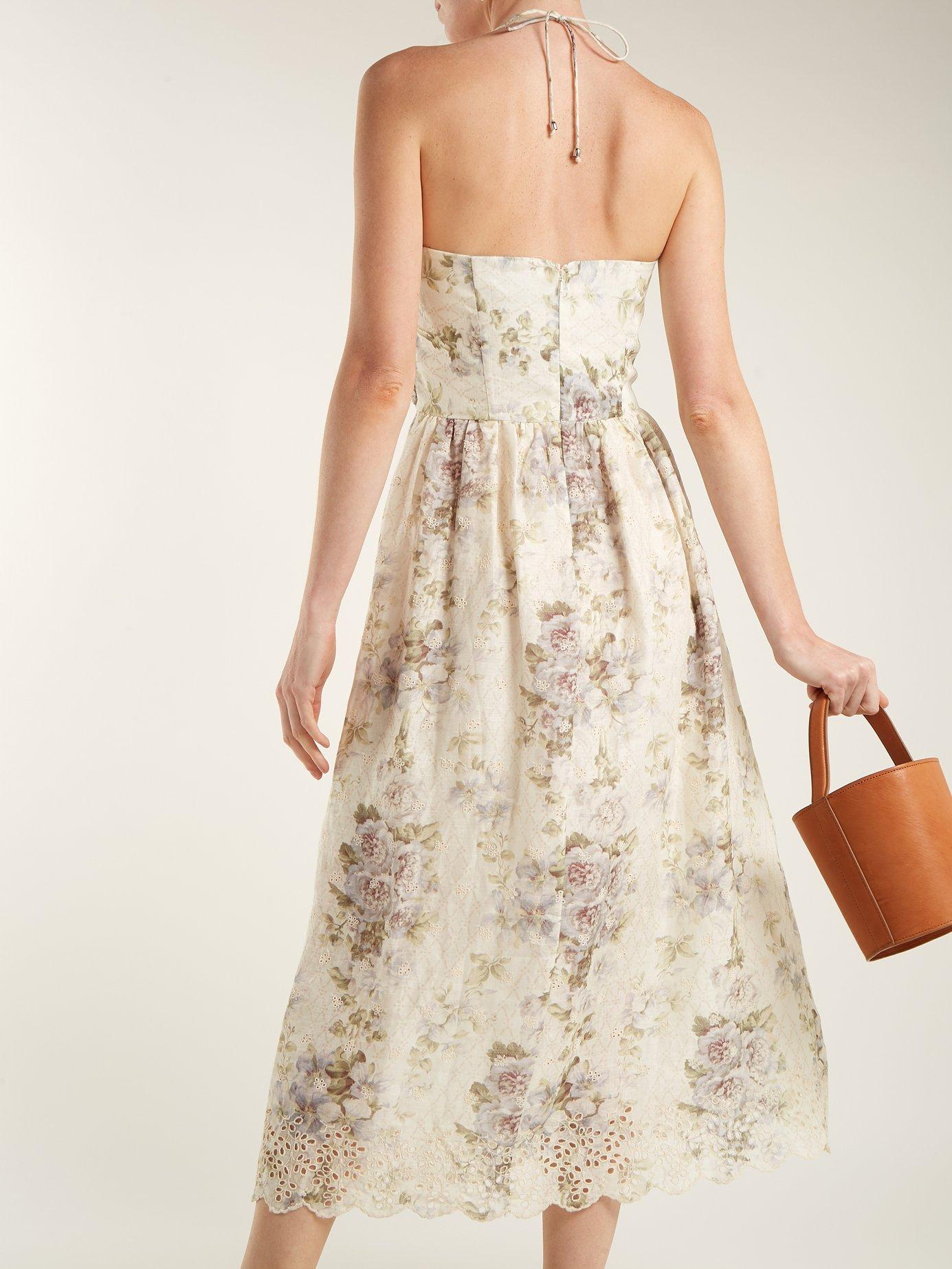 Iris Picnic floral-print linen dress by Zimmermann