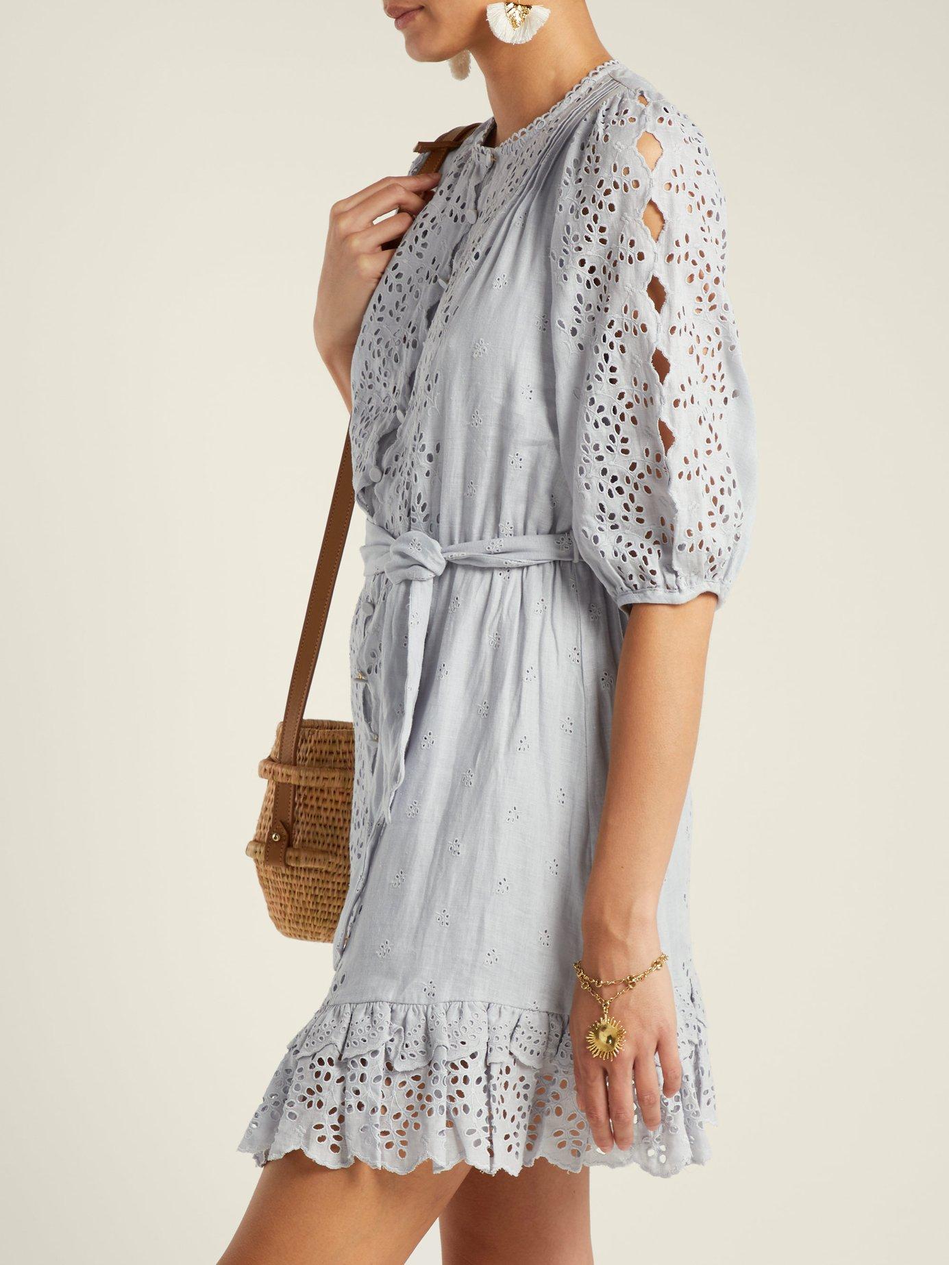 Iris scallop-lace linen dress by Zimmermann