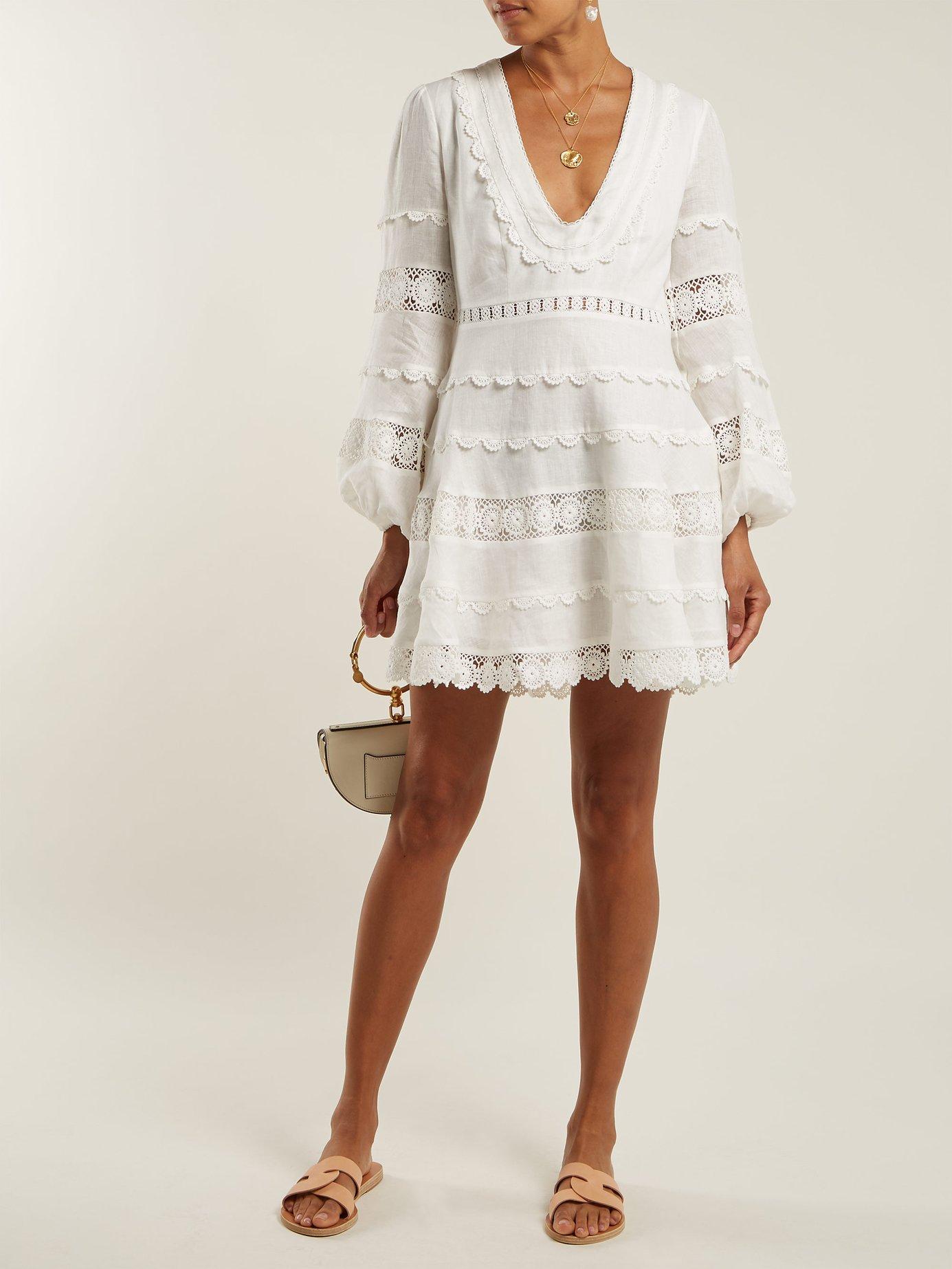 Castile crochet-trimmed linen dress by Zimmermann
