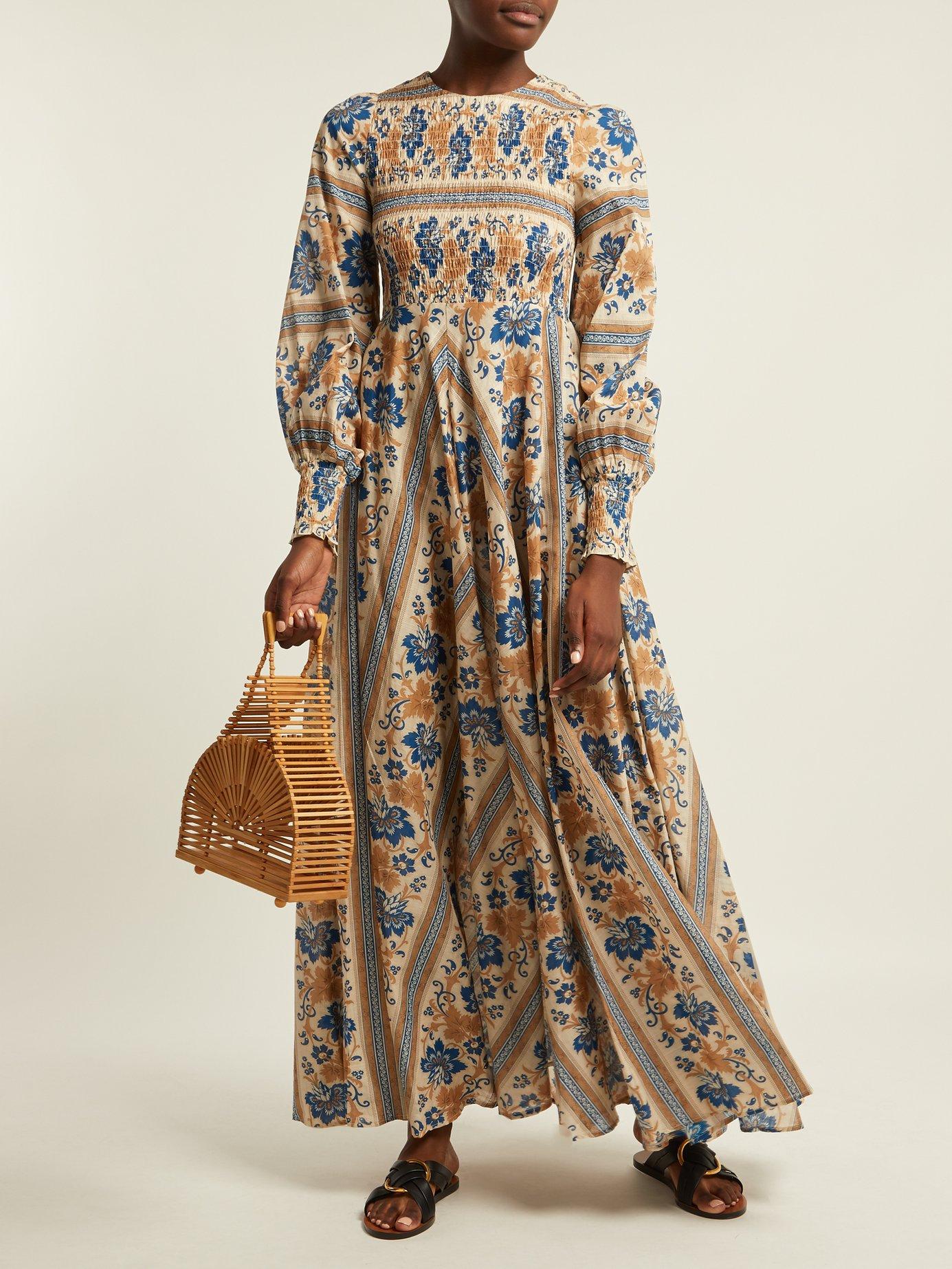 Castile smocked cotton dress by Zimmermann