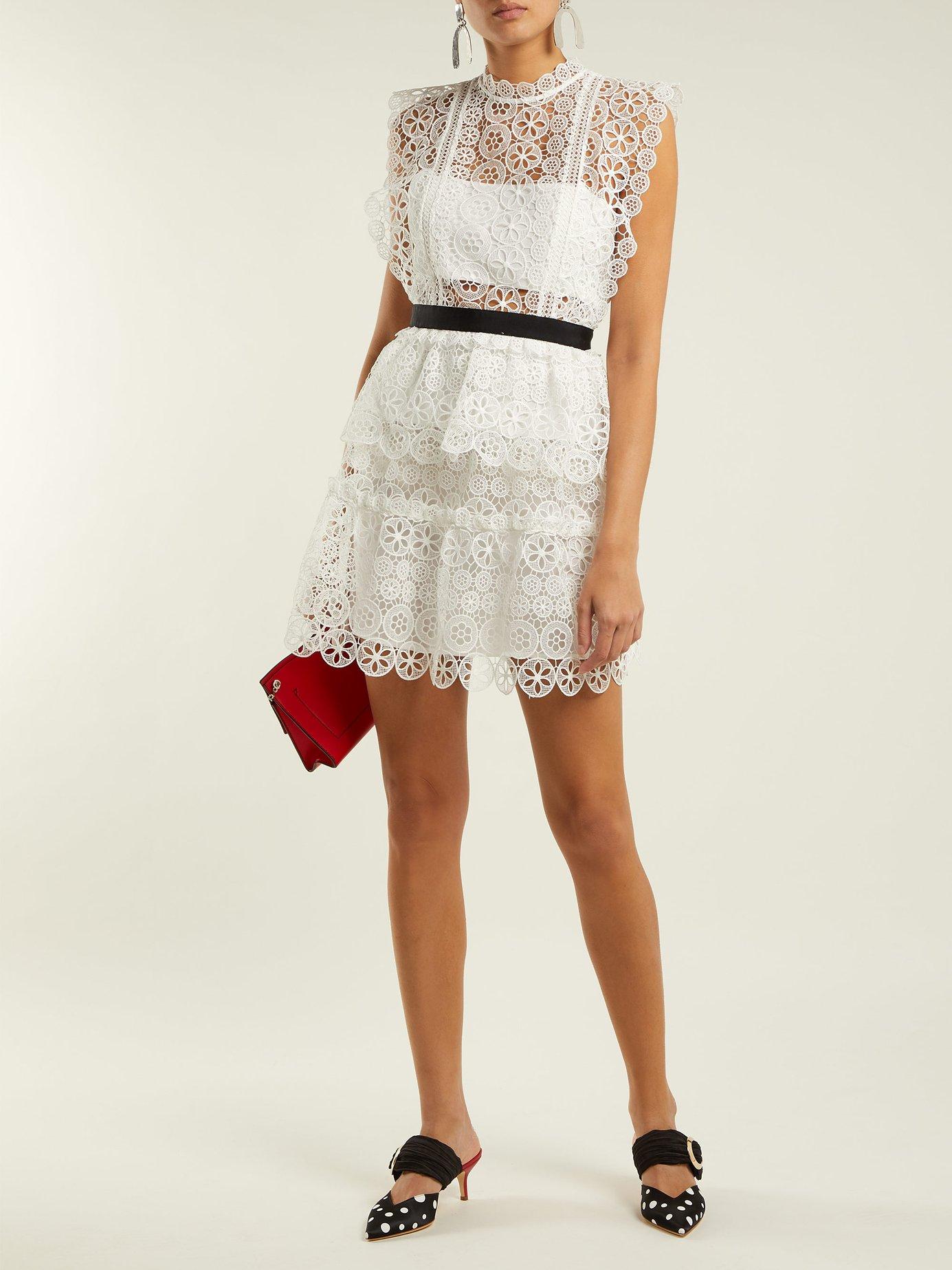 Floral-lace bandeau mini dress by Self-Portrait