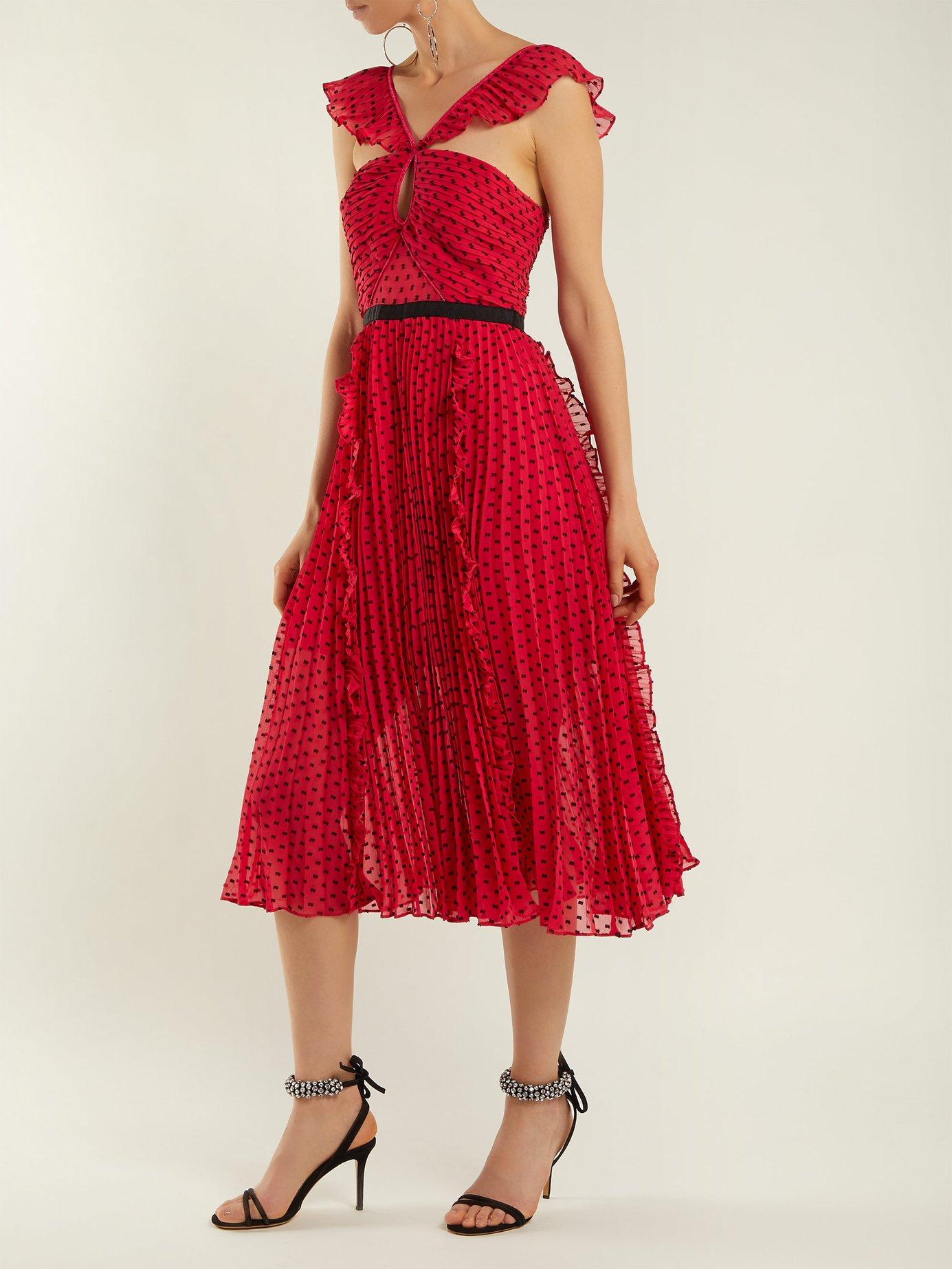 Ruffle-trimmed pleated dress by Self-Portrait