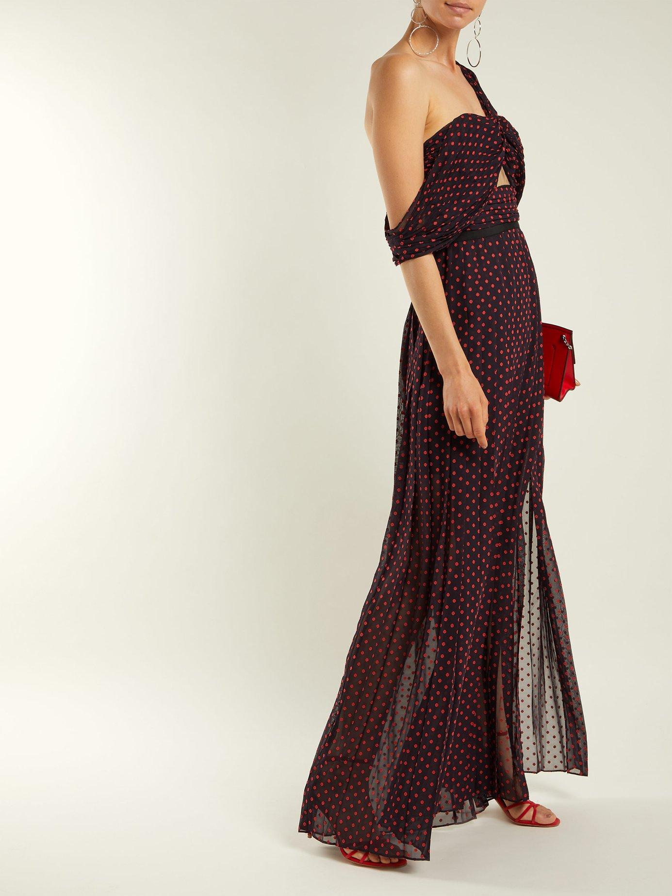 Polka-dot print one-shoulder maxi dress by Self-Portrait