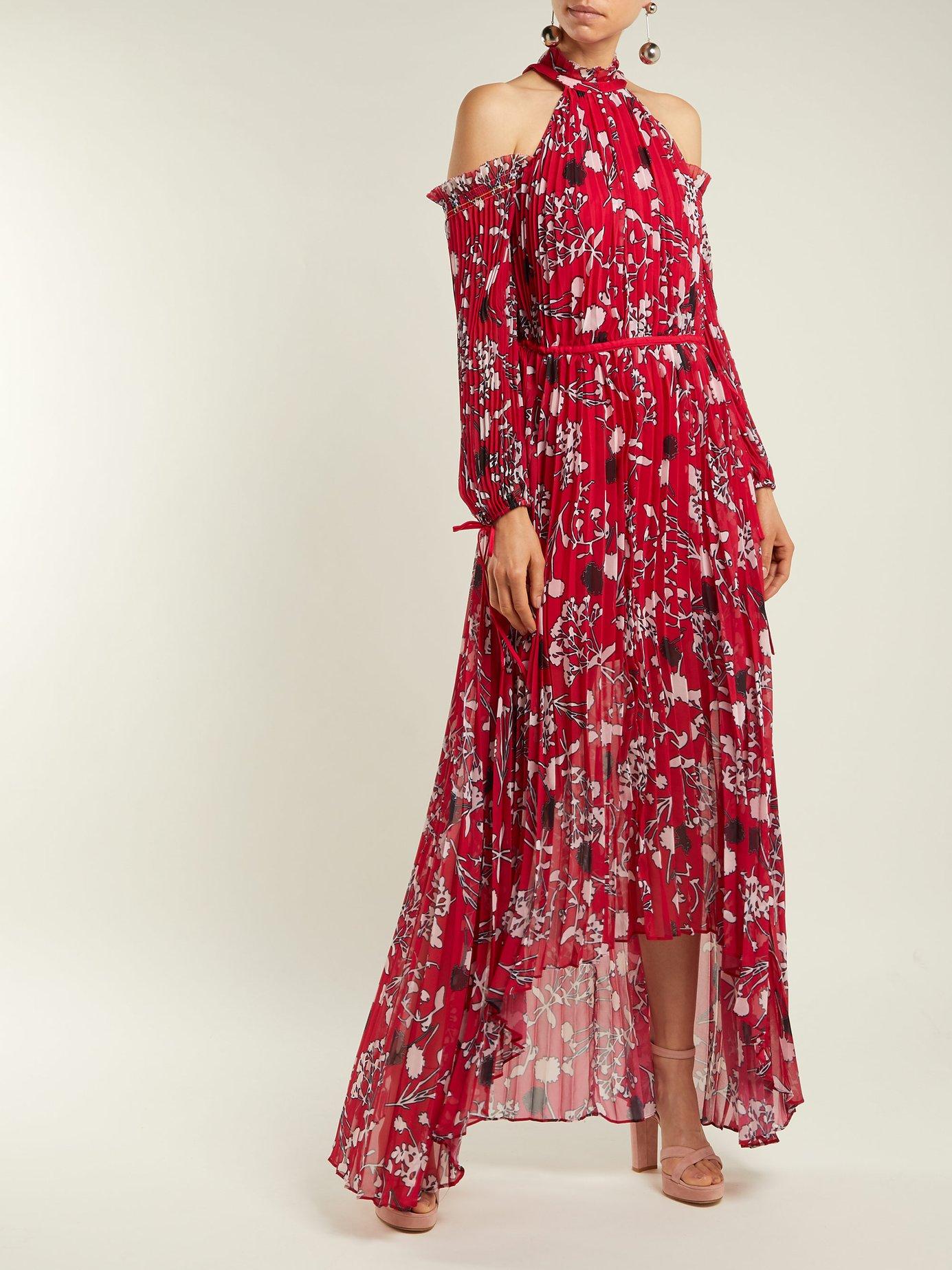 Floral print pleated midi dress by Self-Portrait