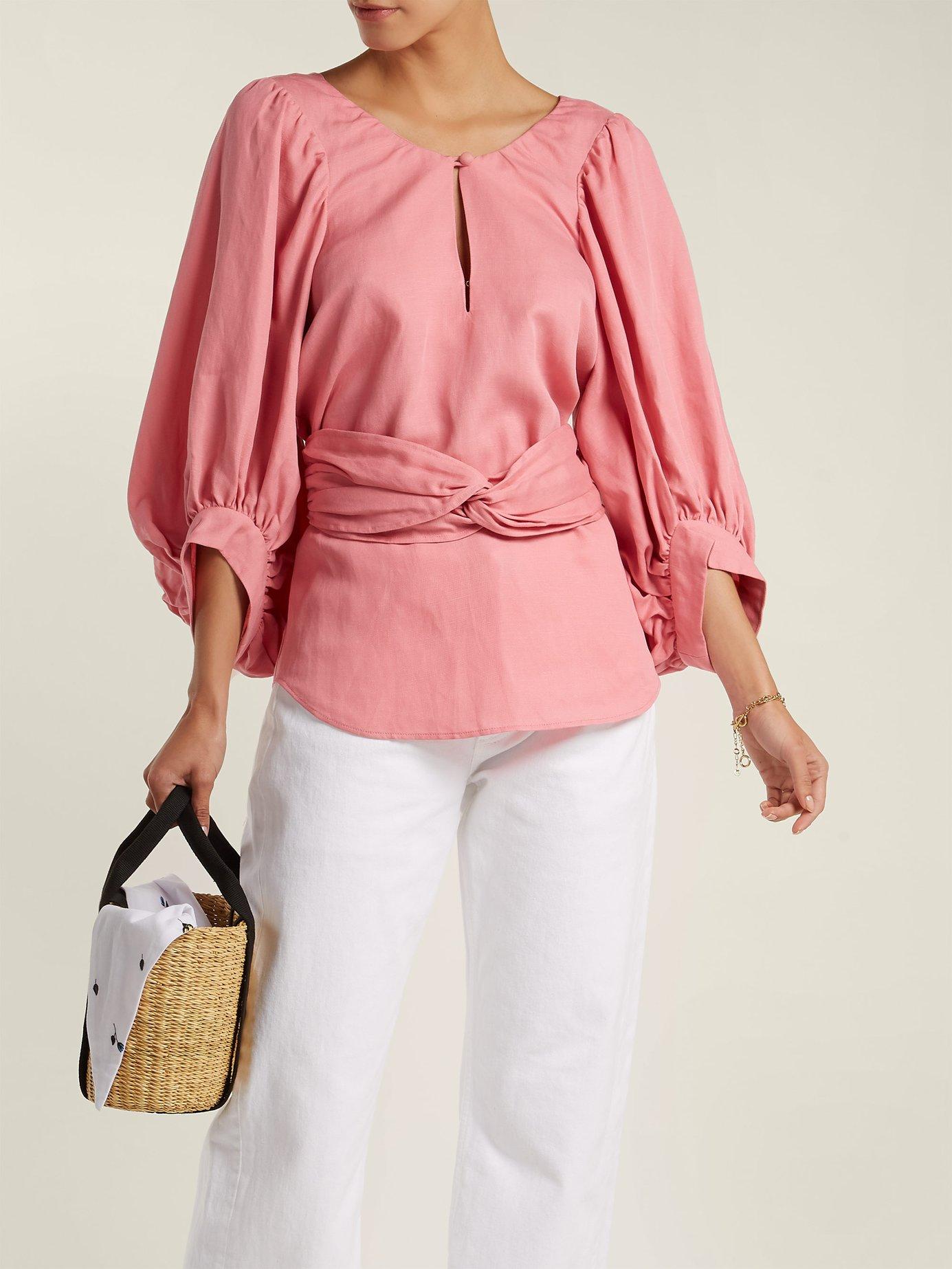 Volya linen-blend balloon-sleeve top by Apiece Apart