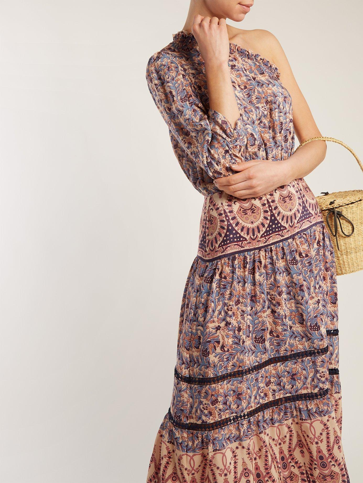 Asymmetric silk-crepe dress by Sea