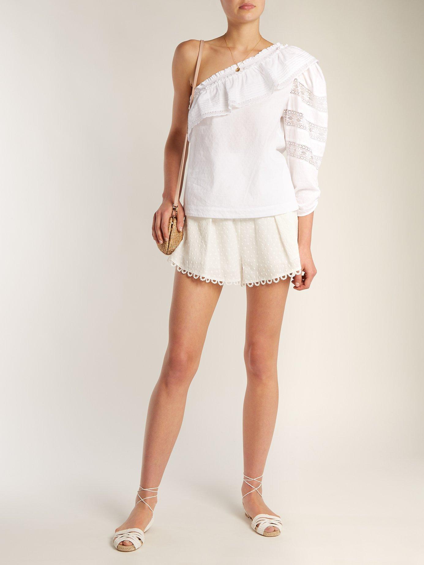 Asymmetric ruffle-trimmed cotton blouse by Sea